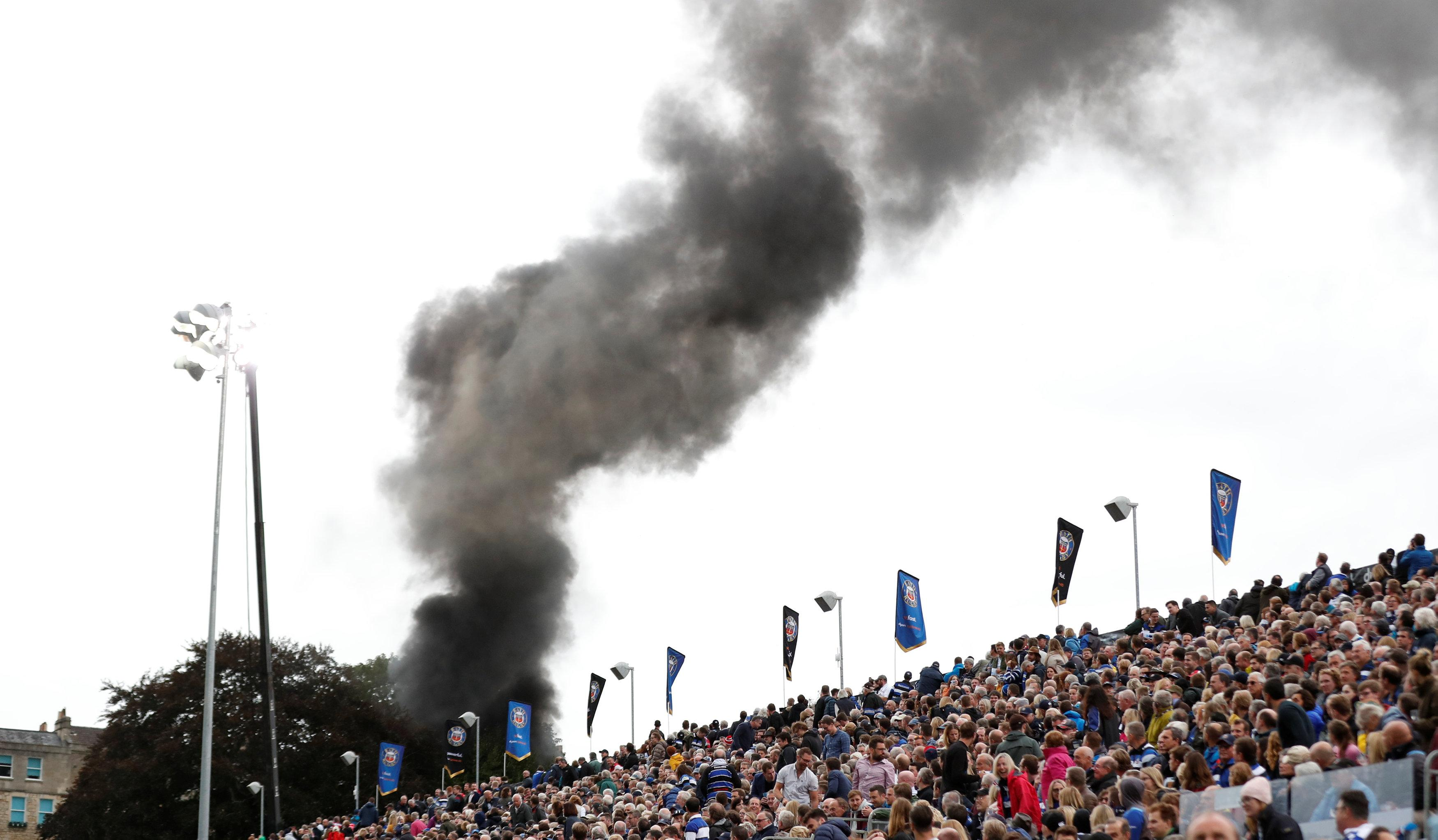 Fans and TV viewers watching Bath vs Gloucester could see a thick plume of black smoke