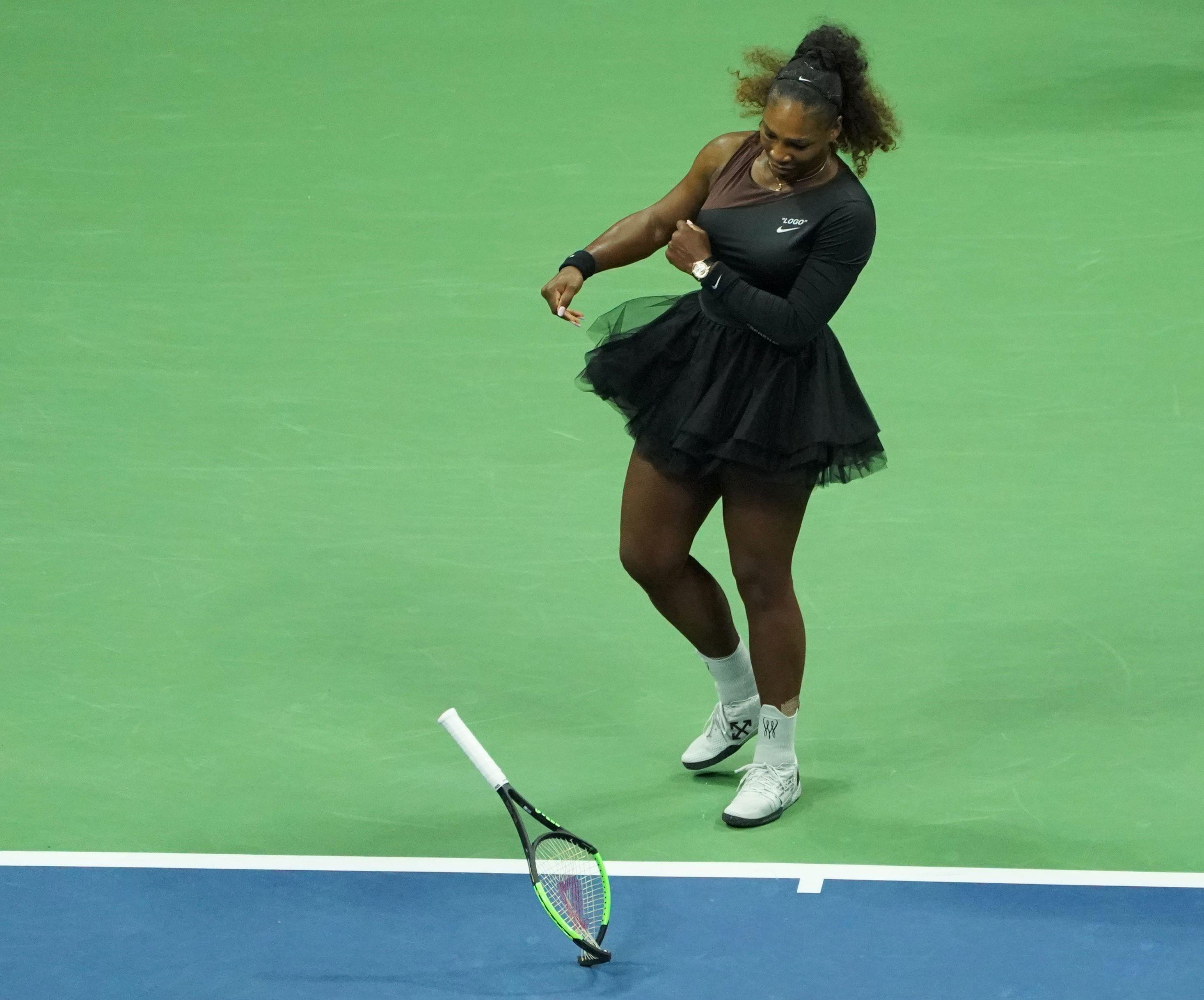 The 36-year-old breaks her racket in fury during the US Open final