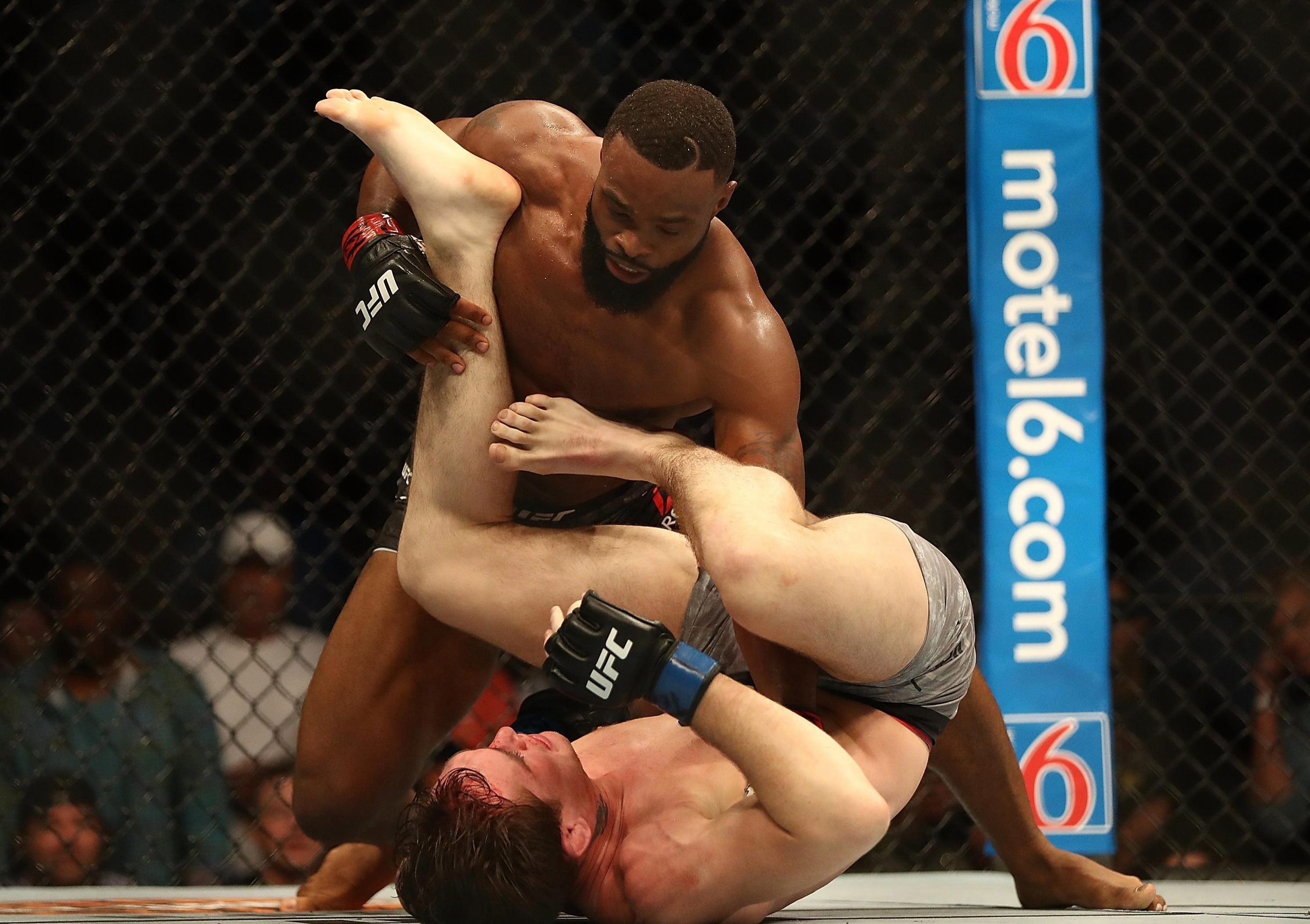 Woodley knocked Till down with a powerful right hand and won with 41 seconds remaining in the second round