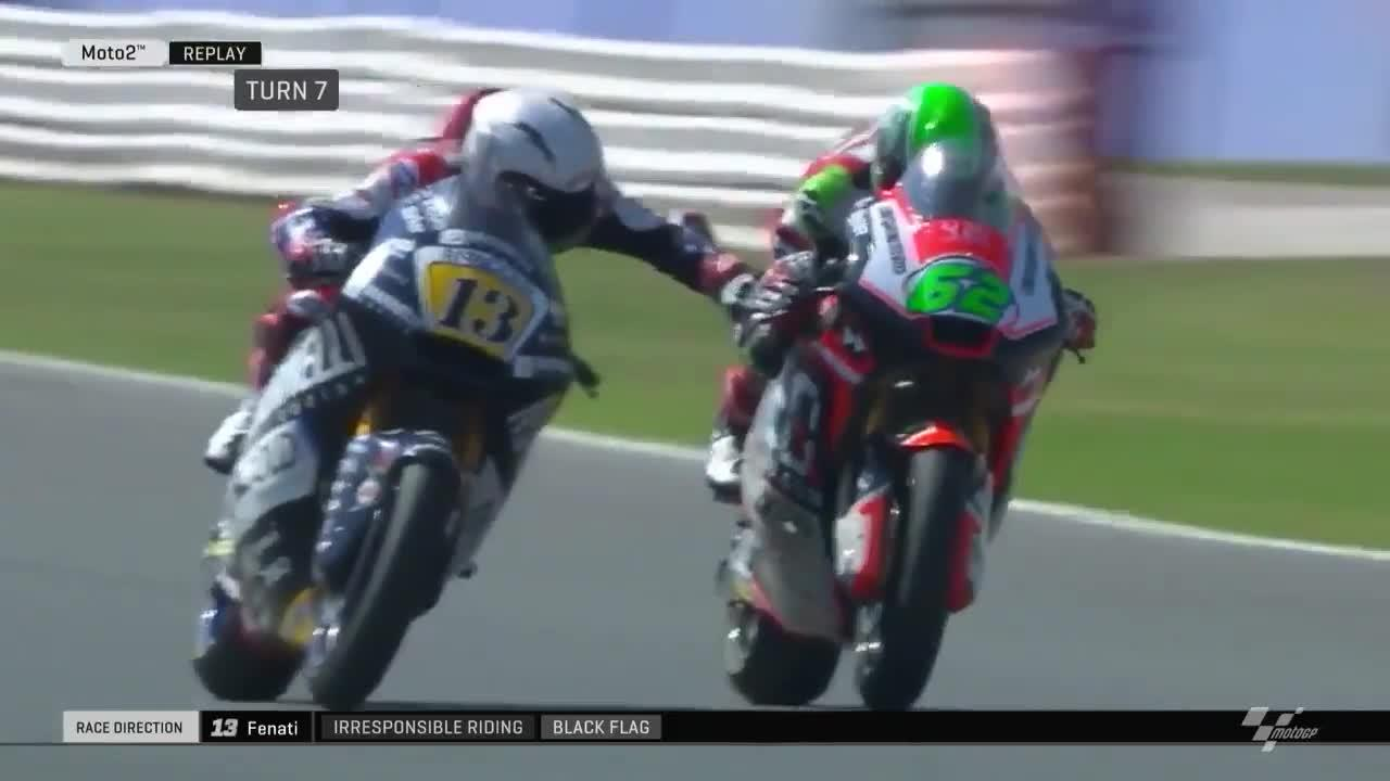 This is the moment a Moto2 star grabbed his opponent's brake lever during a race