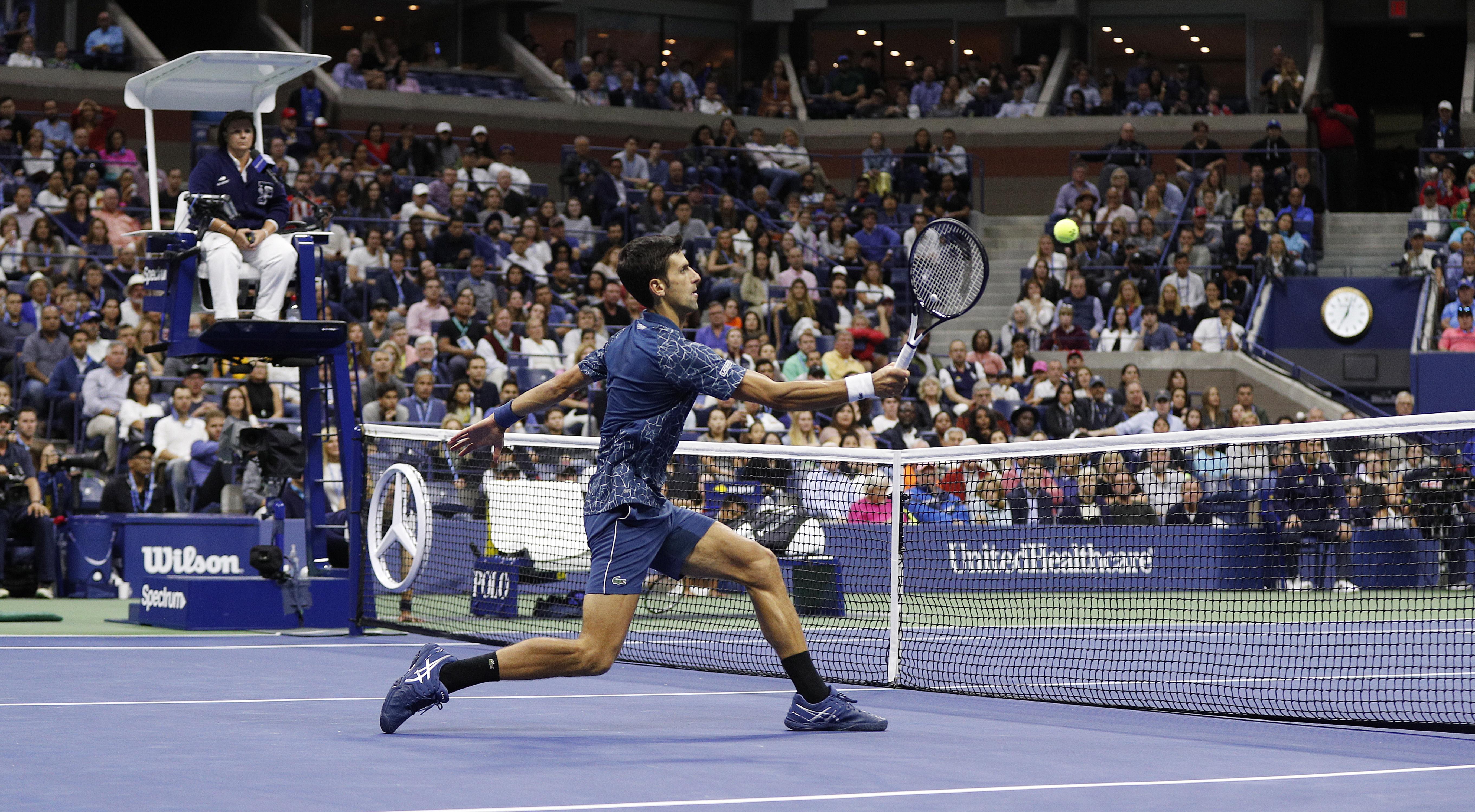 Novak Djokovic won in straight sets in New York