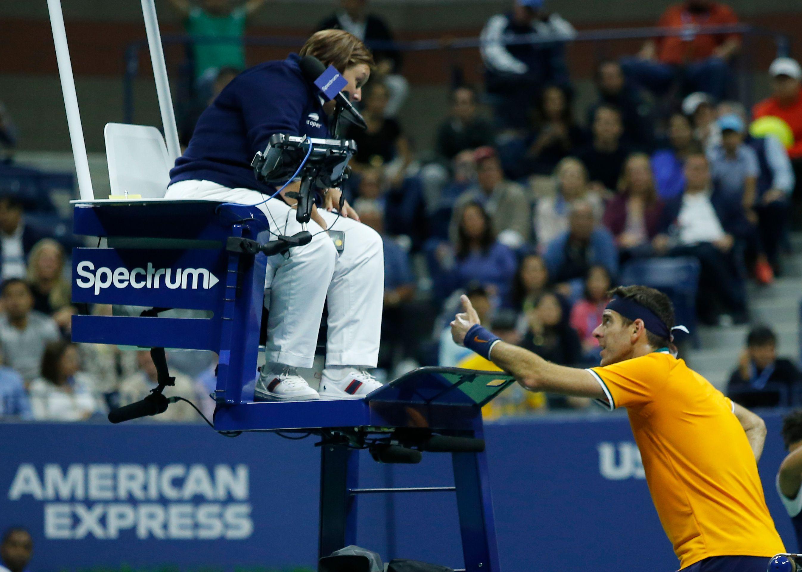 Juan Martin del Potro speaks to the umpire during his US Open final clash