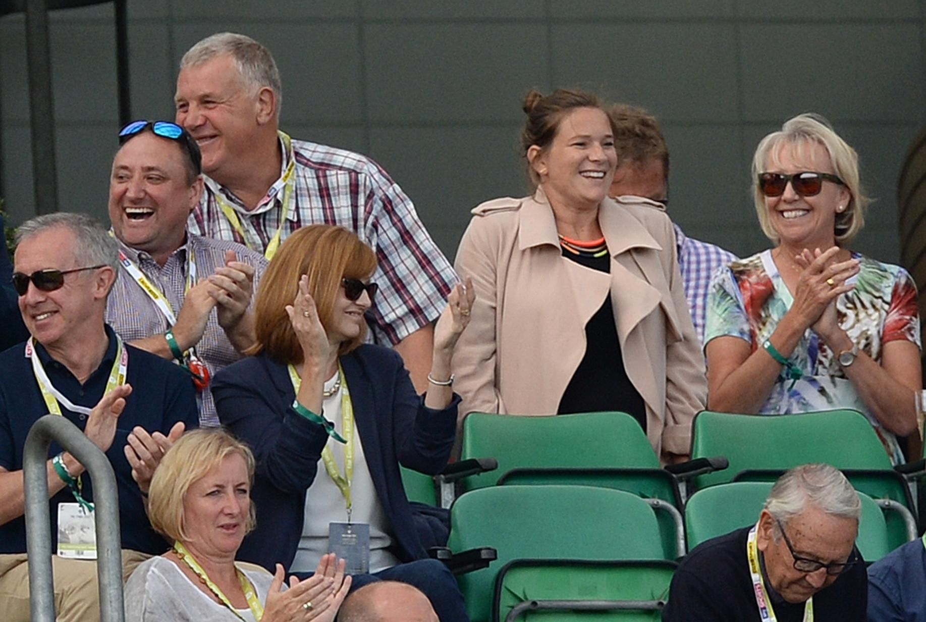 On a magical day for the Cook family, nine-months' pregnant wife Alice stood up to join the cheering for Alastair's last piece of Test history-making