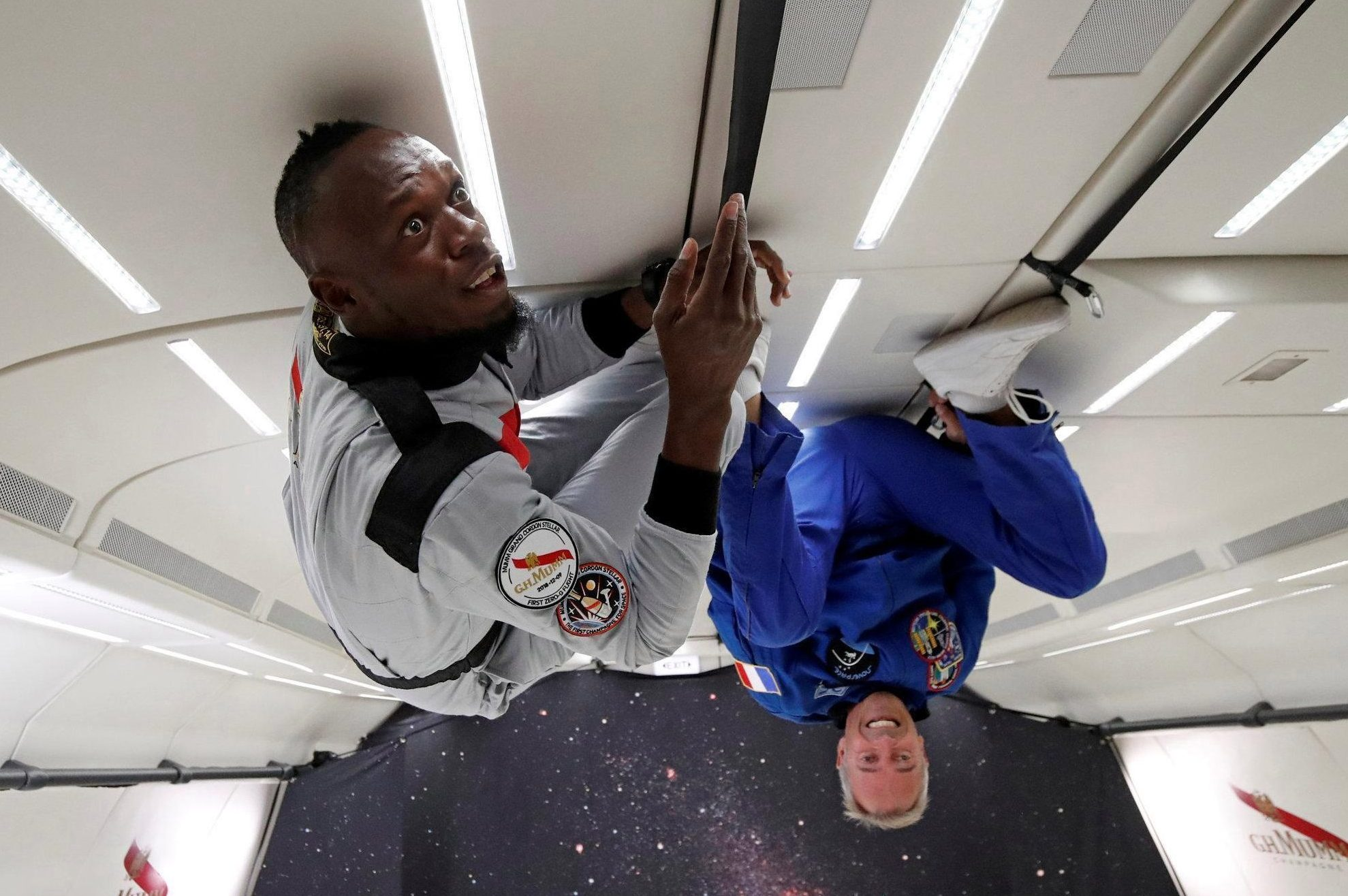 Jamaican legend Usain Bolt is on top again - this time thanks to weightlessness