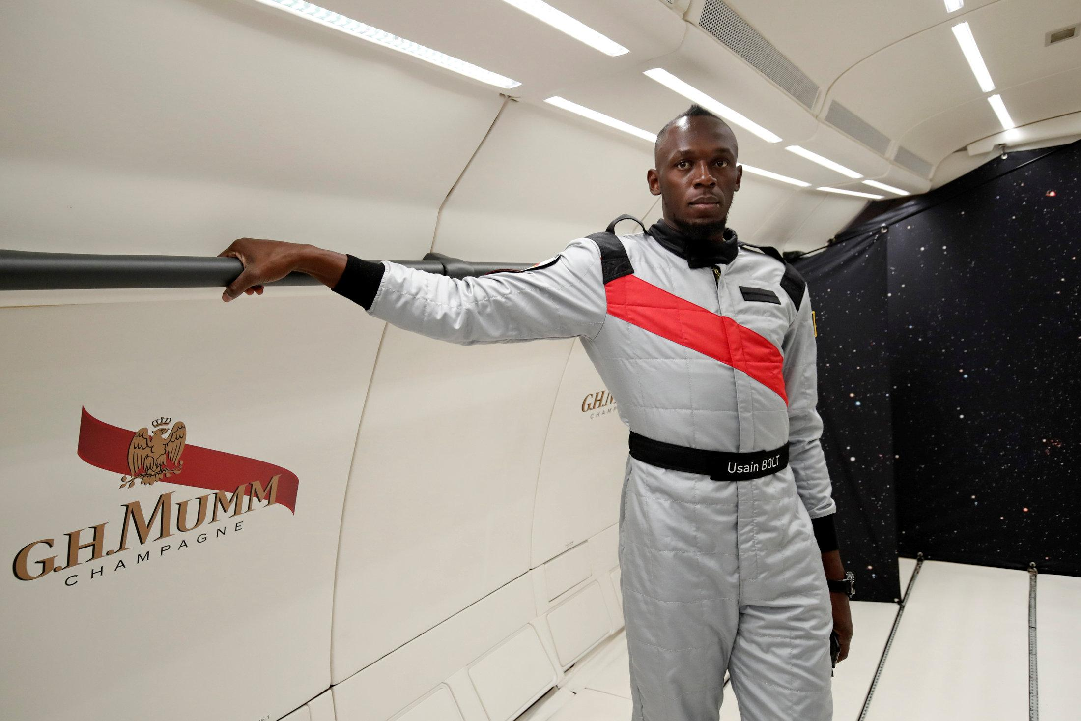 Usain Bolt flew up in a plane modified to recreate space-like zero gravity