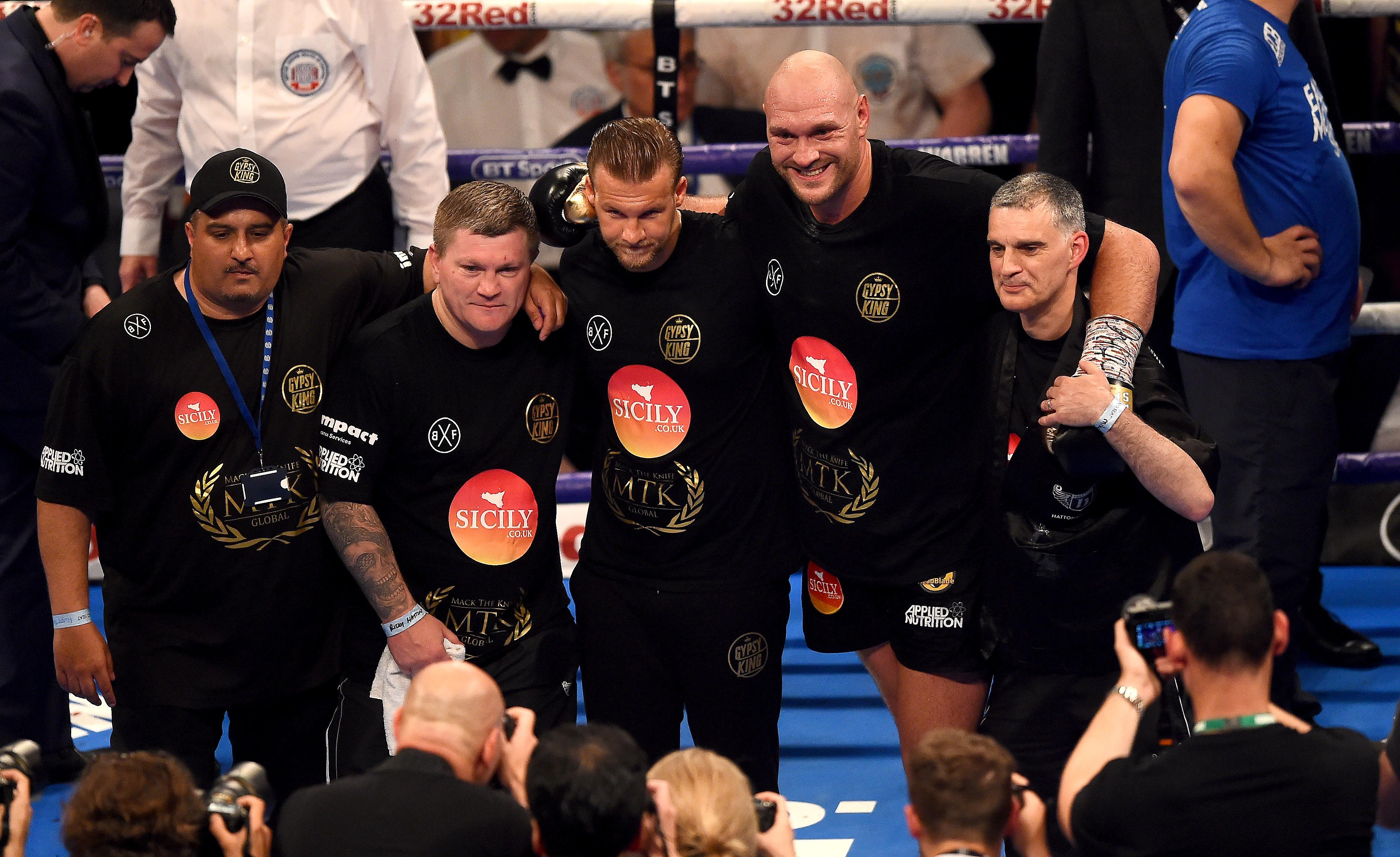 Hatton with Tyson Fury after his comeback fight this summer
