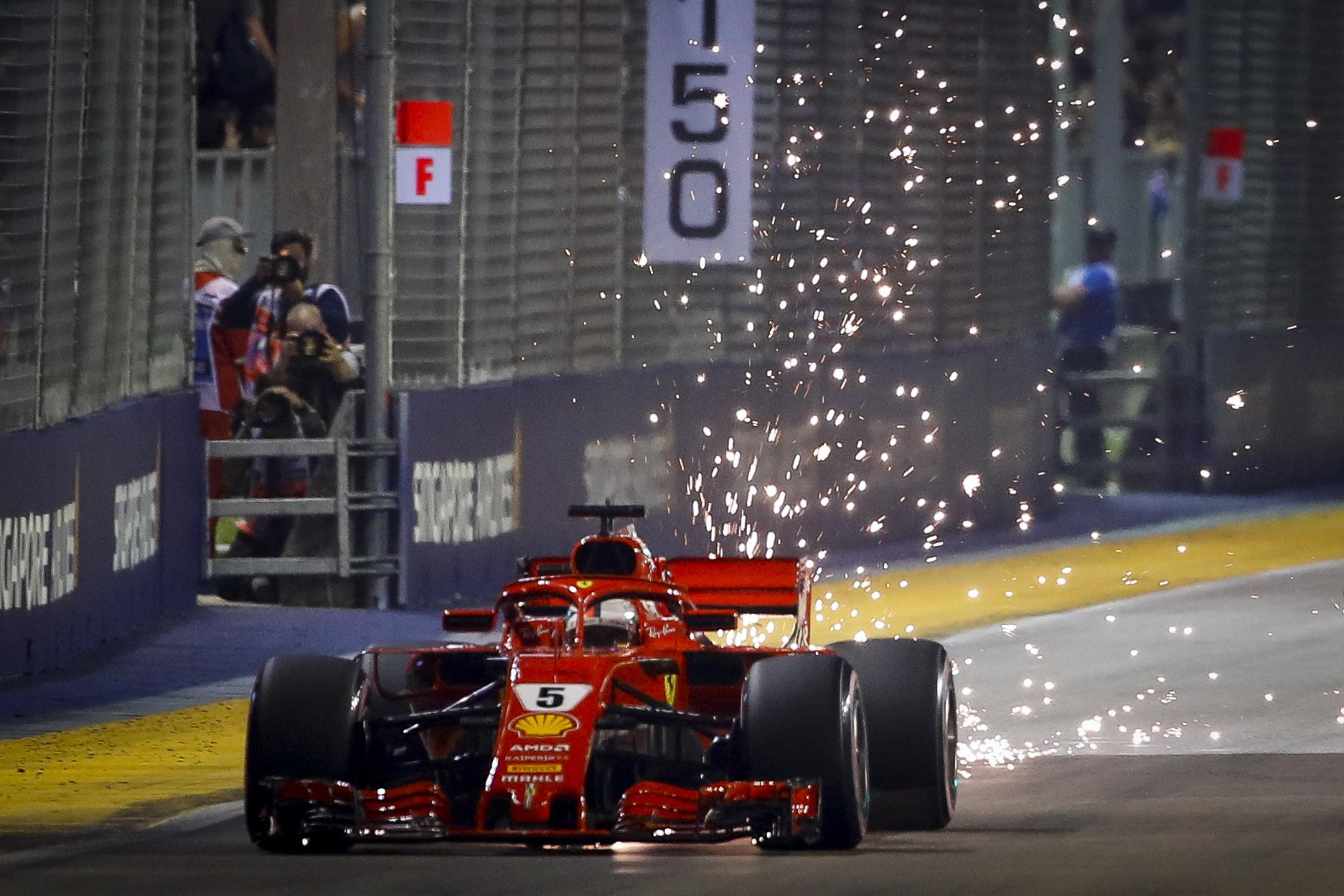 Sebastian Vettel crashed into a wall in practice this week and will start from third on grid on Sunday's race