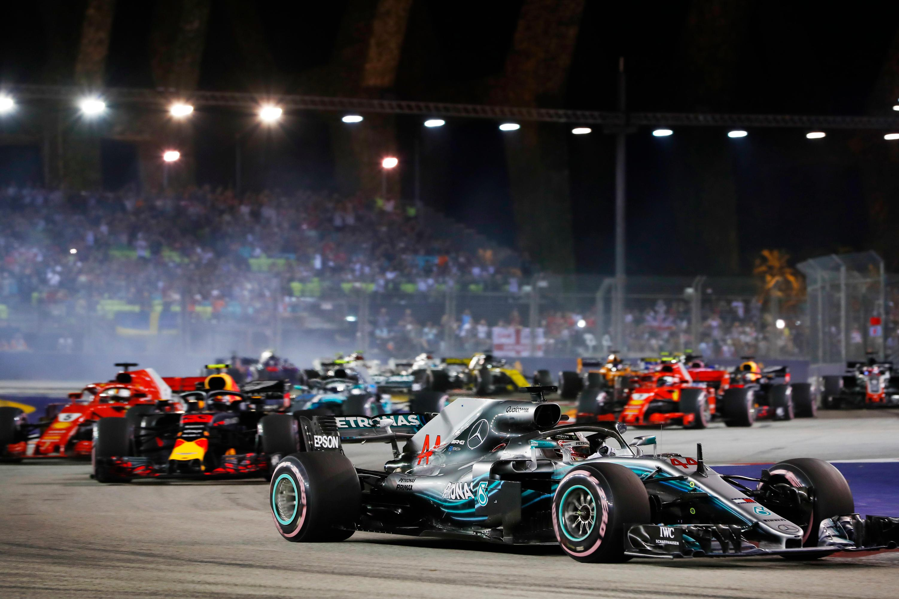 Hamilton led the rest of the field home - and crucially Max Verstappen took second ahead of Sebastian Vettel
