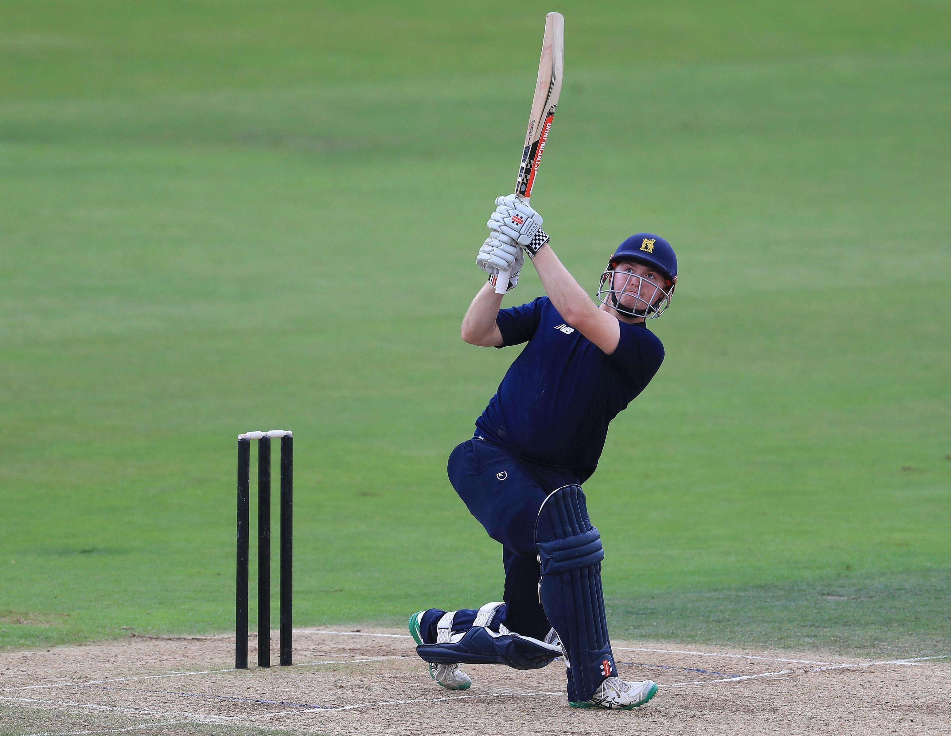 Ed Pollock takes to the skies during The Hundred trial game at Trent Bridge
