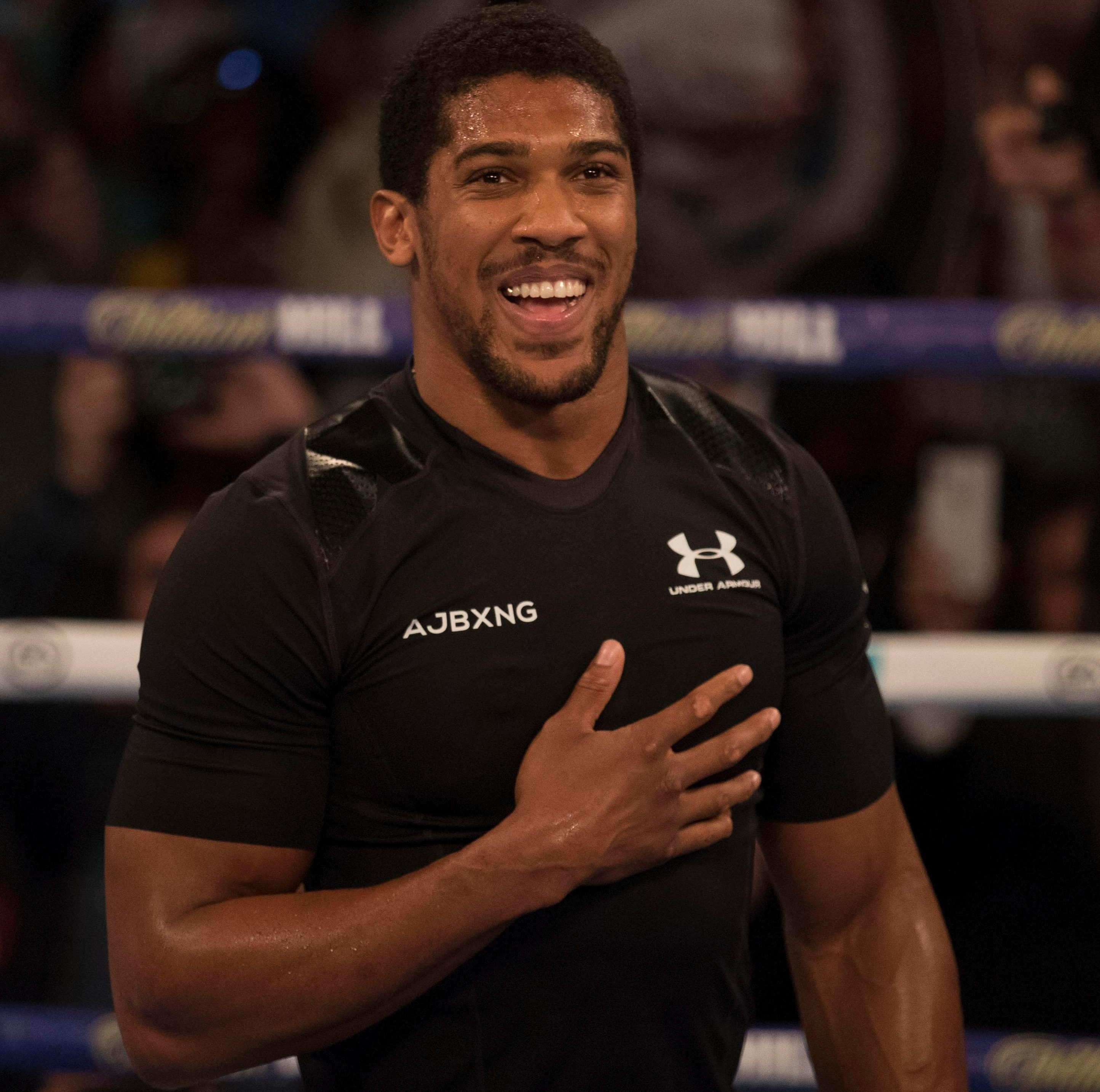 Anthony Joshua delighted fans during an open workout at York Hall - but wasn't in the ring for long