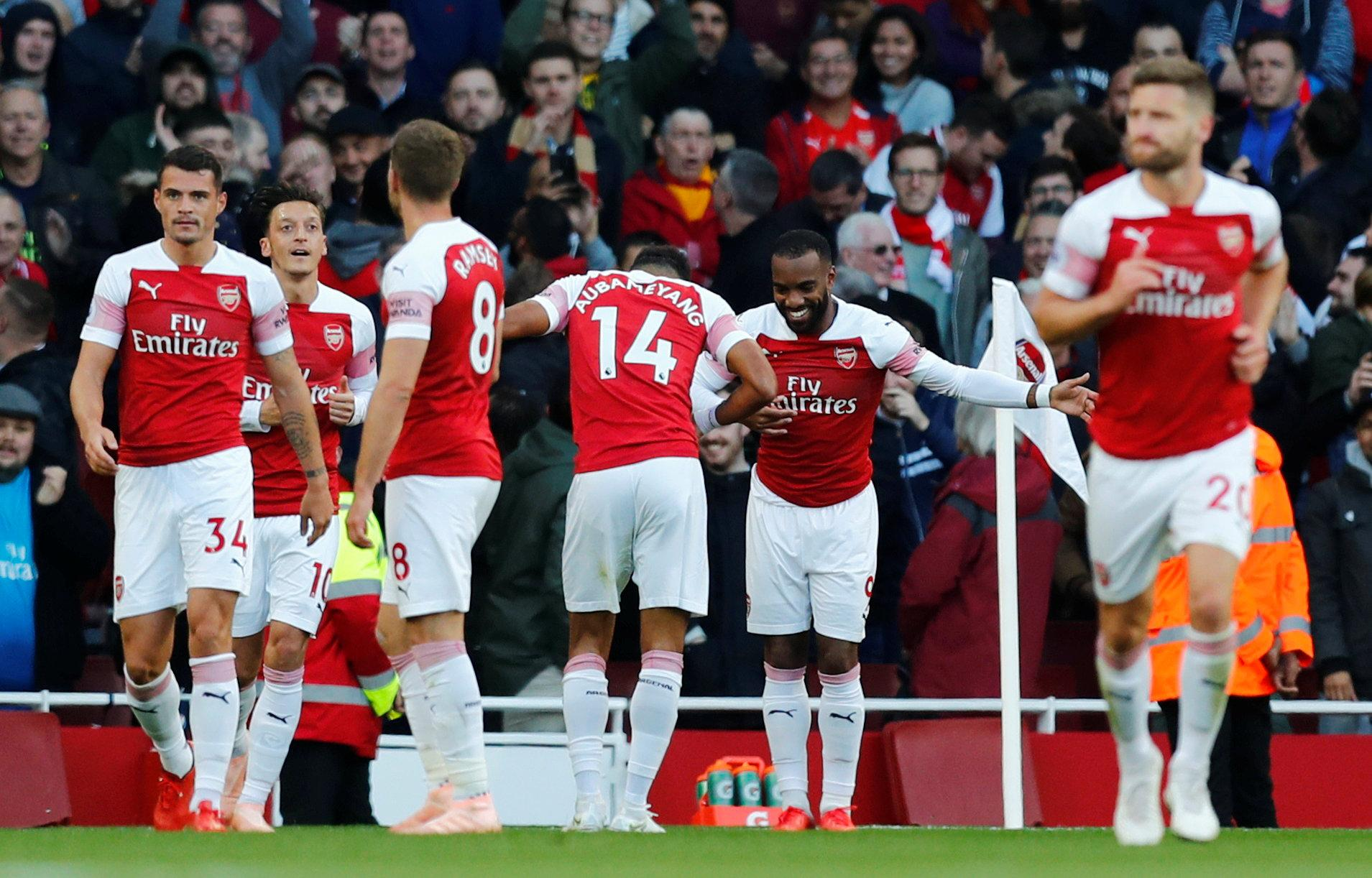Alexandre Lacazette opened the scoring for Arsenal with a delightful finish before Pierre-Emerick Aubameyang secured the win