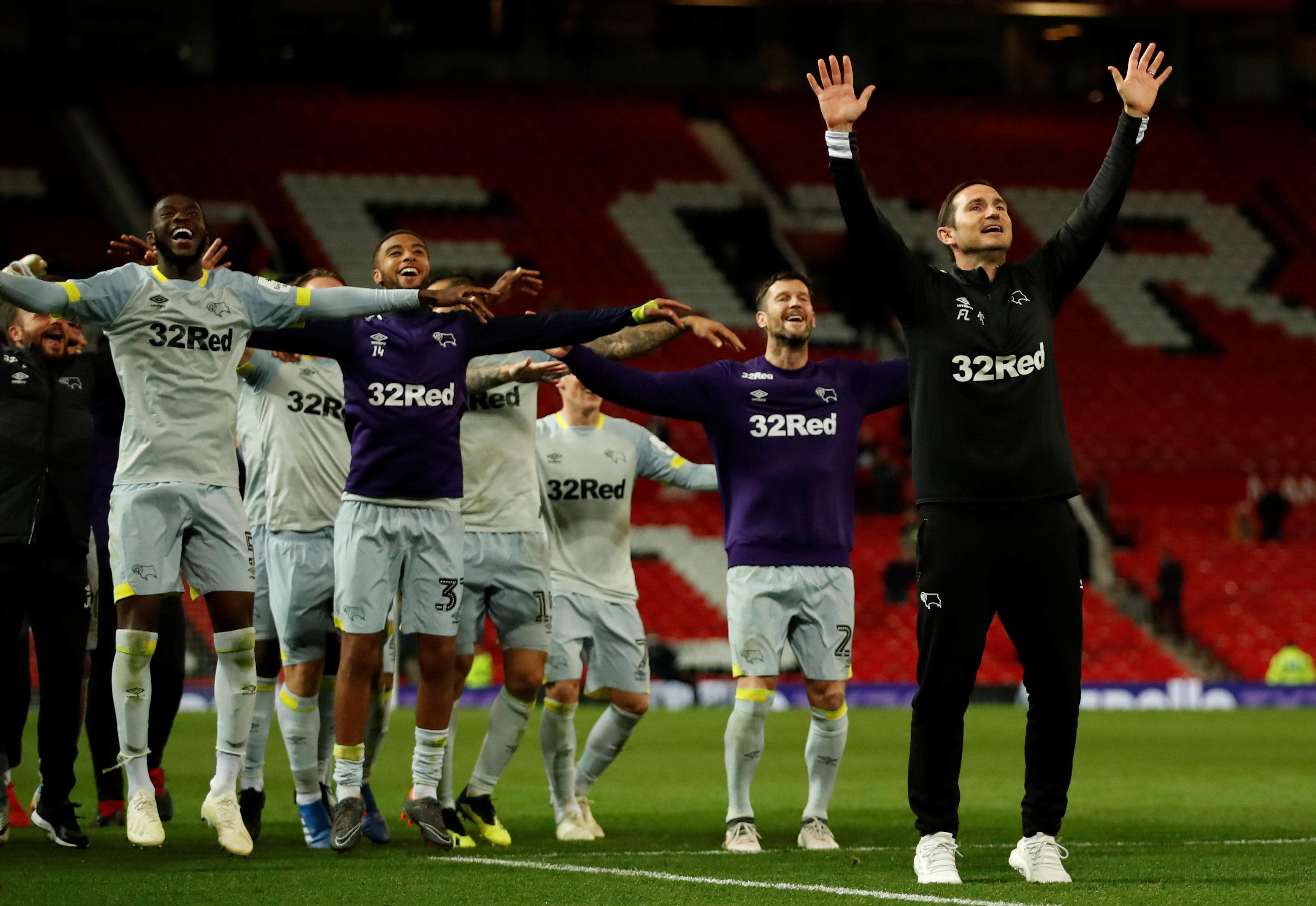 Frank Lampard leads his players in celebrating Derby's League Cup win at Old Trafford on Tuesday night