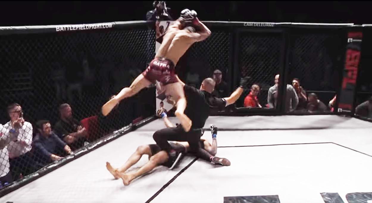 Austin Batra was disqualified for this crazy move after the ref had stopped the fight
