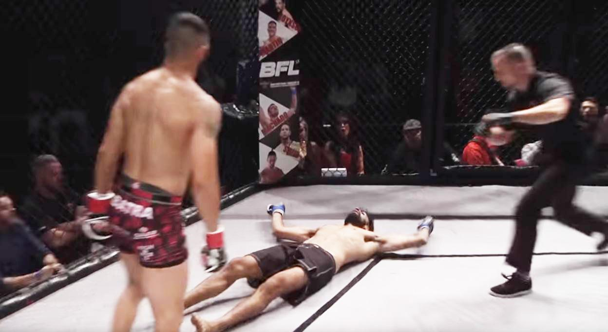 The ref clearly moves quickly to stop the fight
