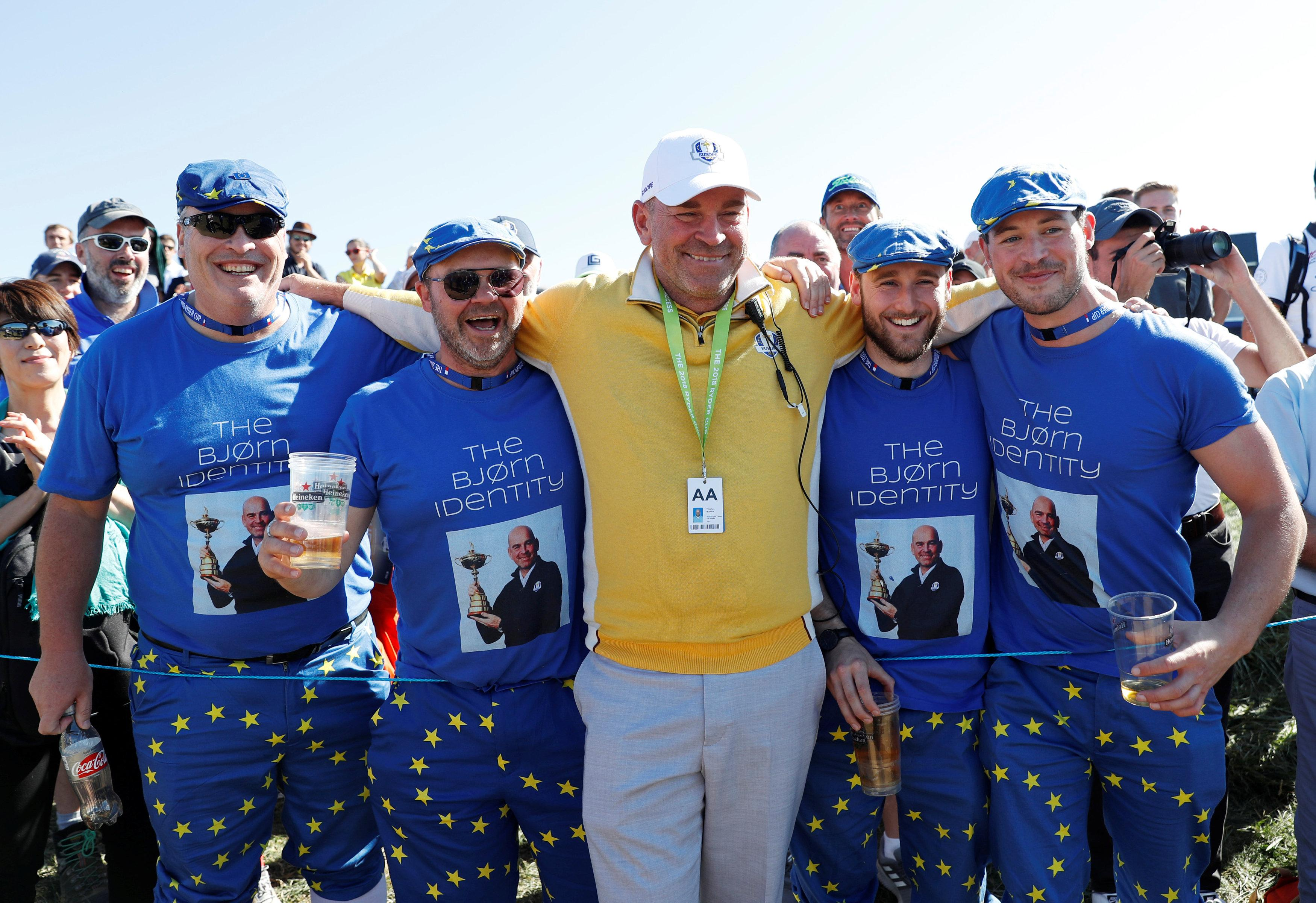 Team Europe captain Thomas Bjorn poses with jubilant fans ahead of the start of the tournament