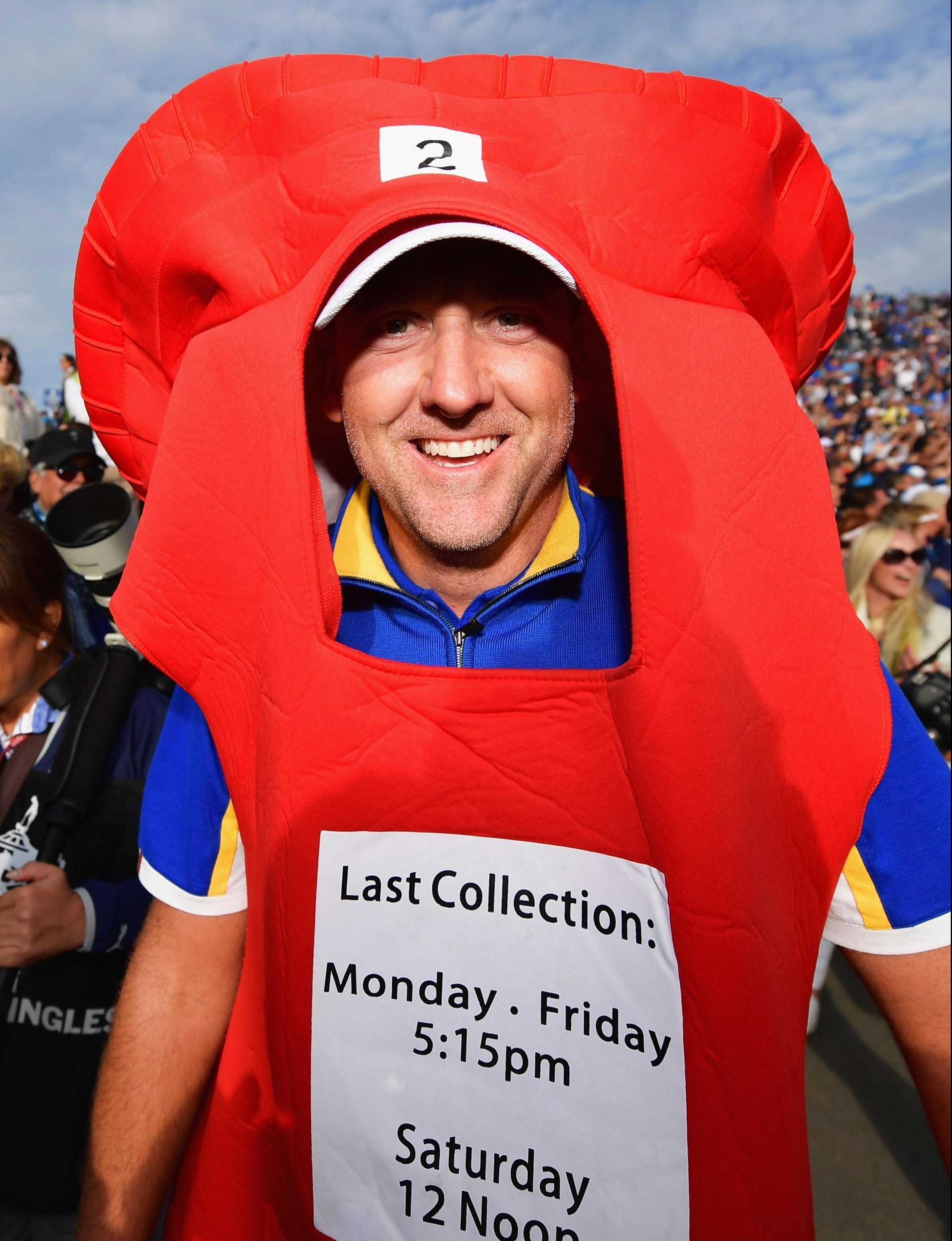 Ian Poulter dressed as a post-box after helping secure the Ryder Cup