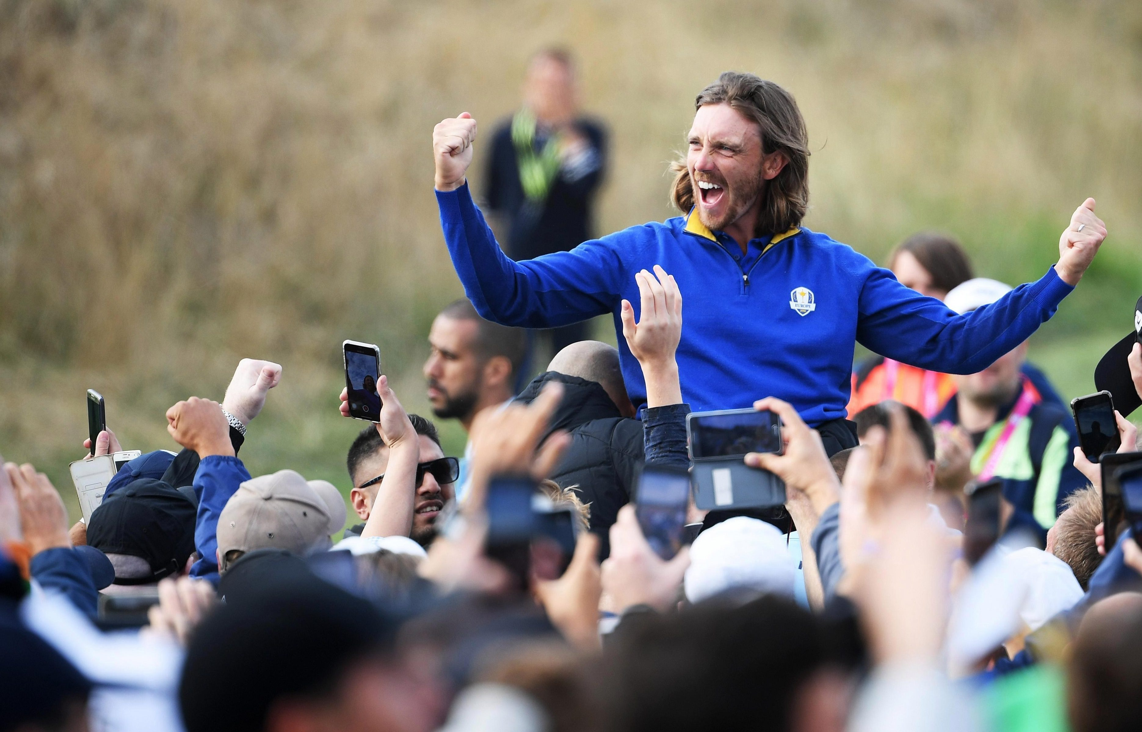 Tommy Fleetwood got carried away with his celebrations despite being thumped in his singles match after Europe's win