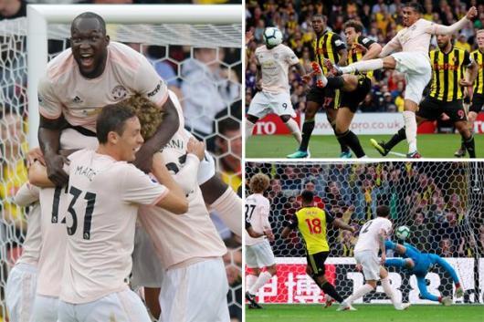 نتيجة بحث الصور عن First-half United goals from Lukaku and Smalling end Watford's 100 per cent start to the season as Matic is sent off
