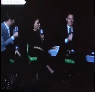 Sky Sports pundits carry on their analysis in the dark after stadium lights go out