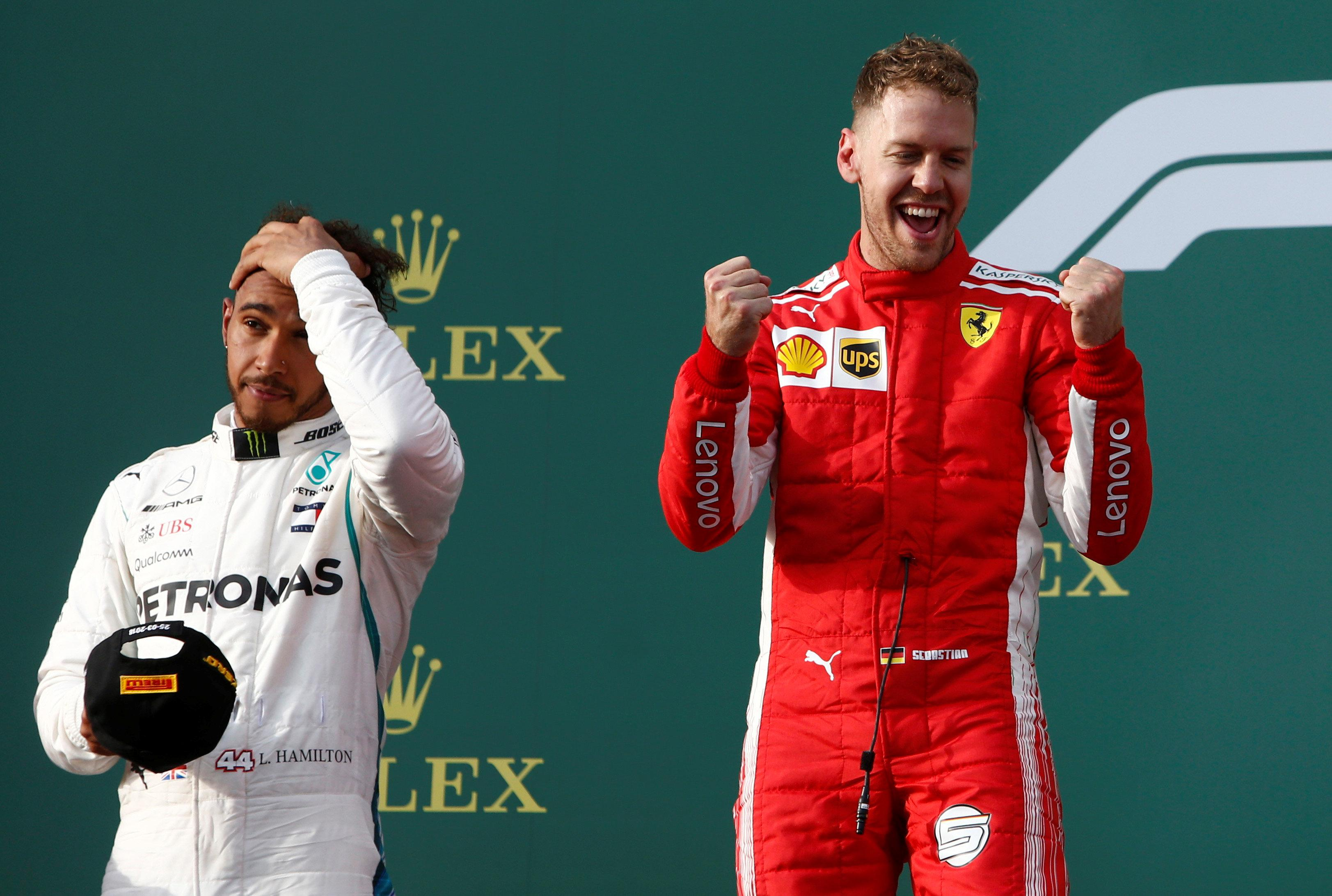 Sebastian Vettel steals the victory in Australia ahead of Lewis Hamilton