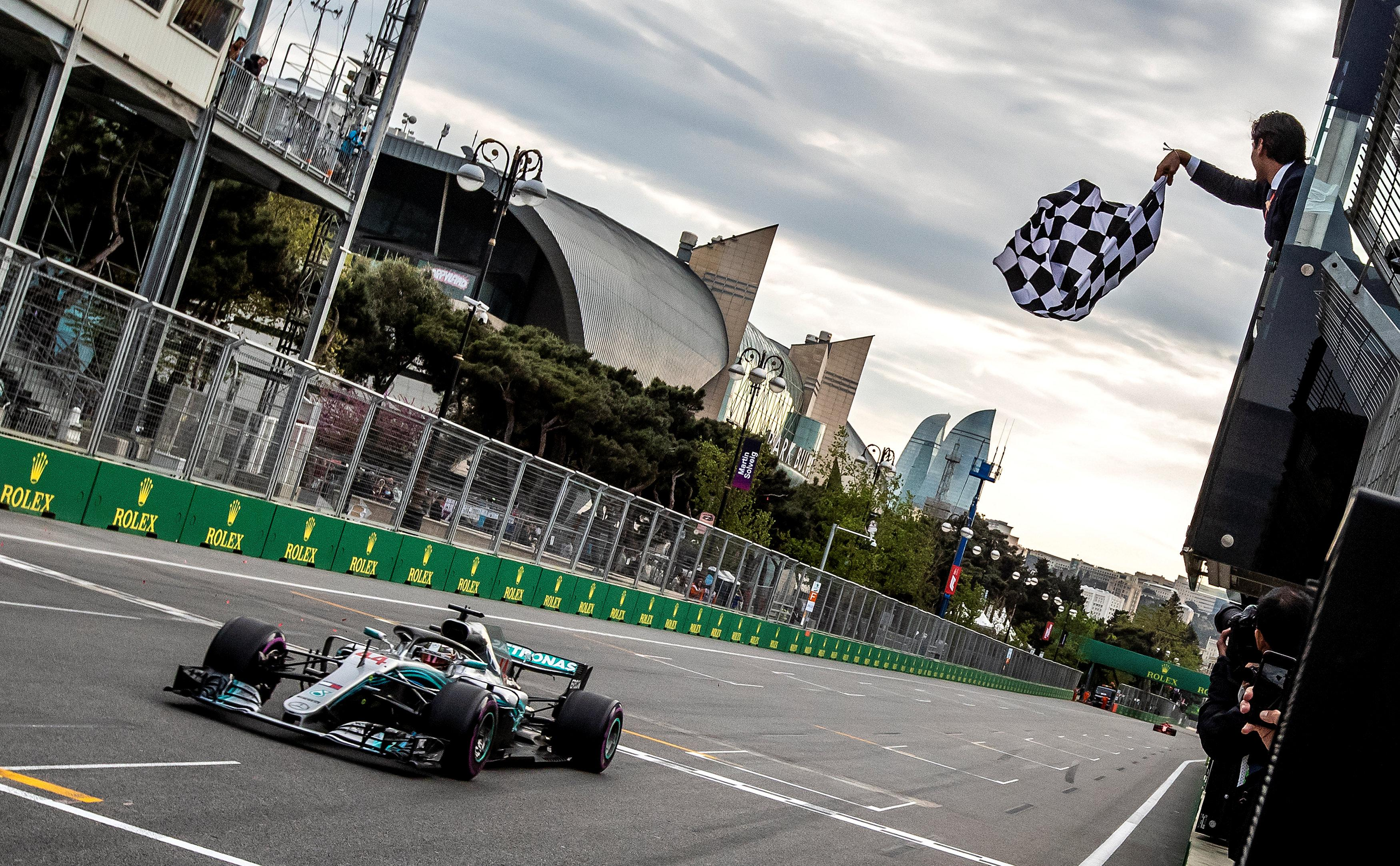 Lewis Hamilton secures his first win of the season in Azerbaijan