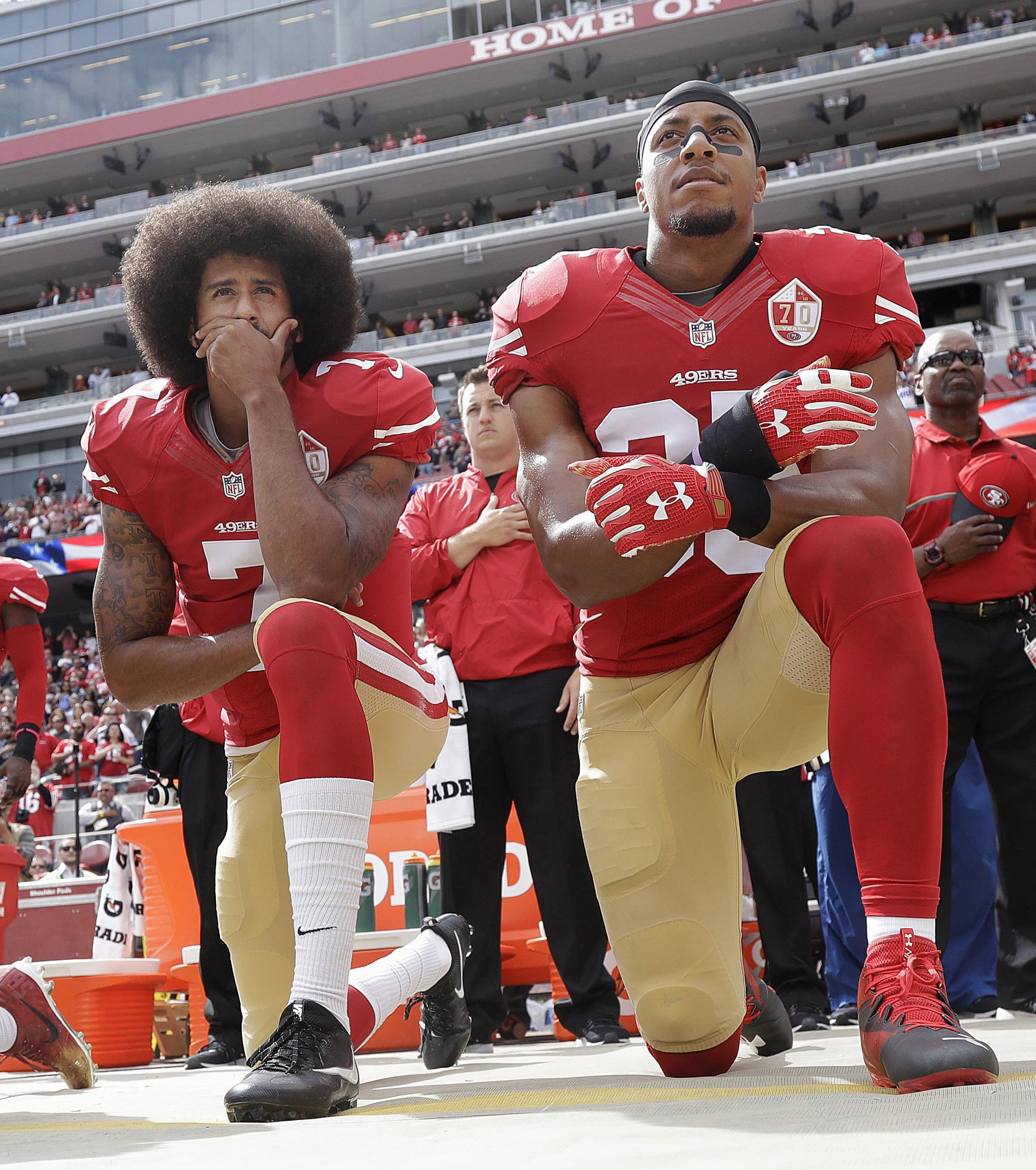 Colin Kaepernick was ousted from the NFL after kneeling in protest during the national anthem