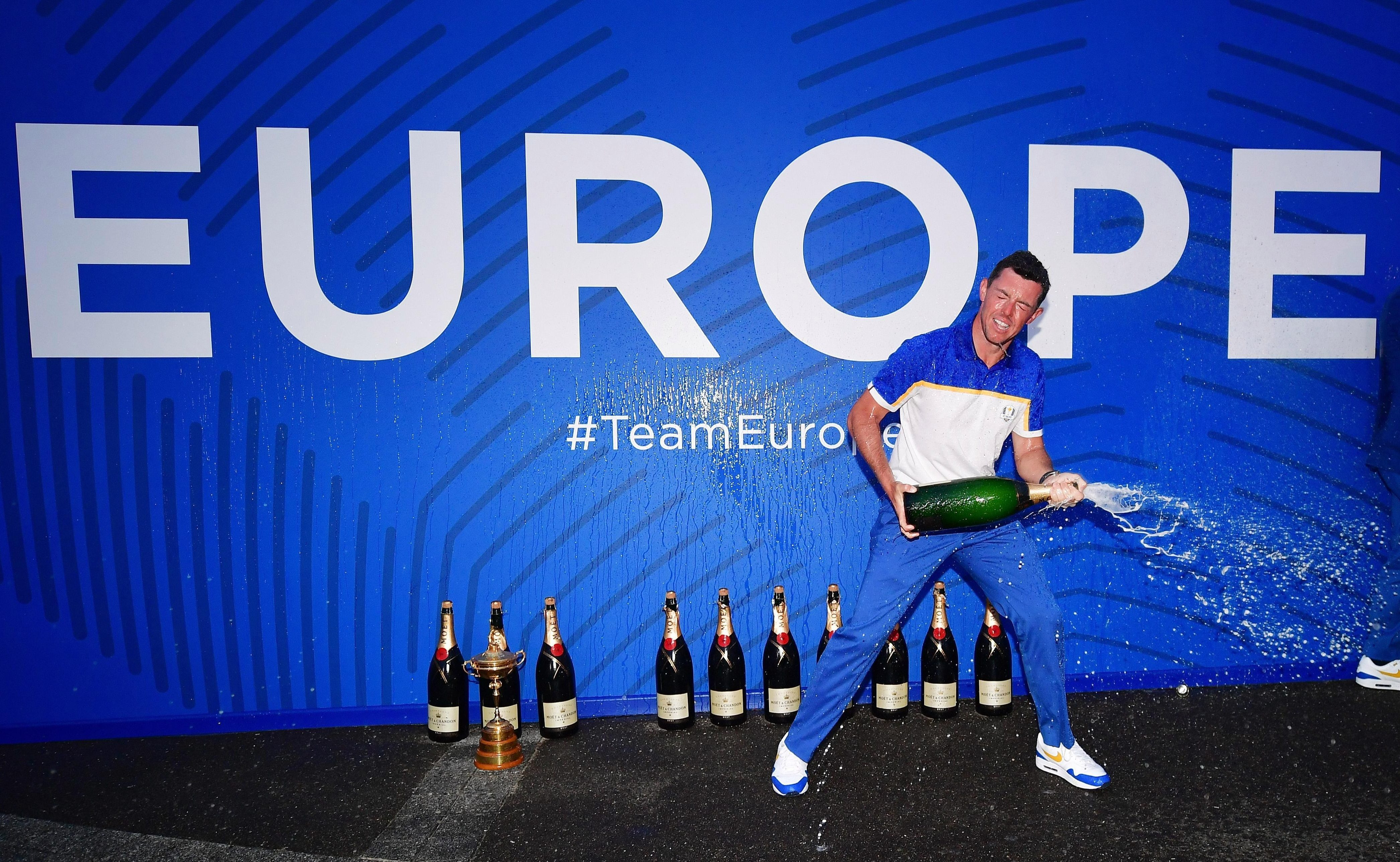 Rory McIlroy helps celebrate after Europe won the Ryder Cup against the all-star Yanks