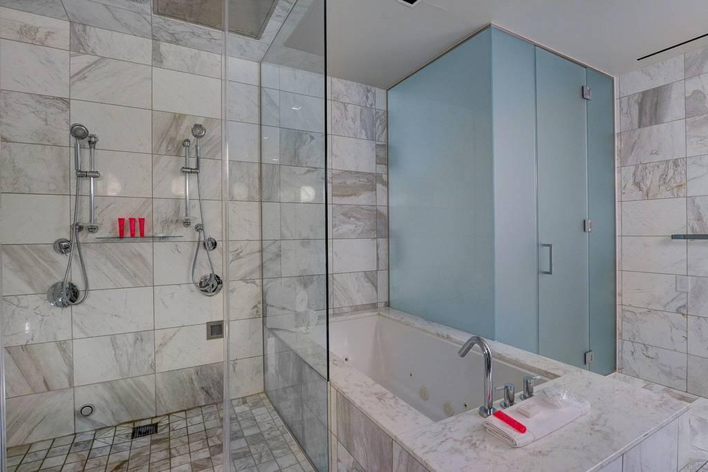 A bathroom in the luxury suite. Court papers opposed by Ronaldo claim he exposed himself to Ms Mayorga before forcing himself on her