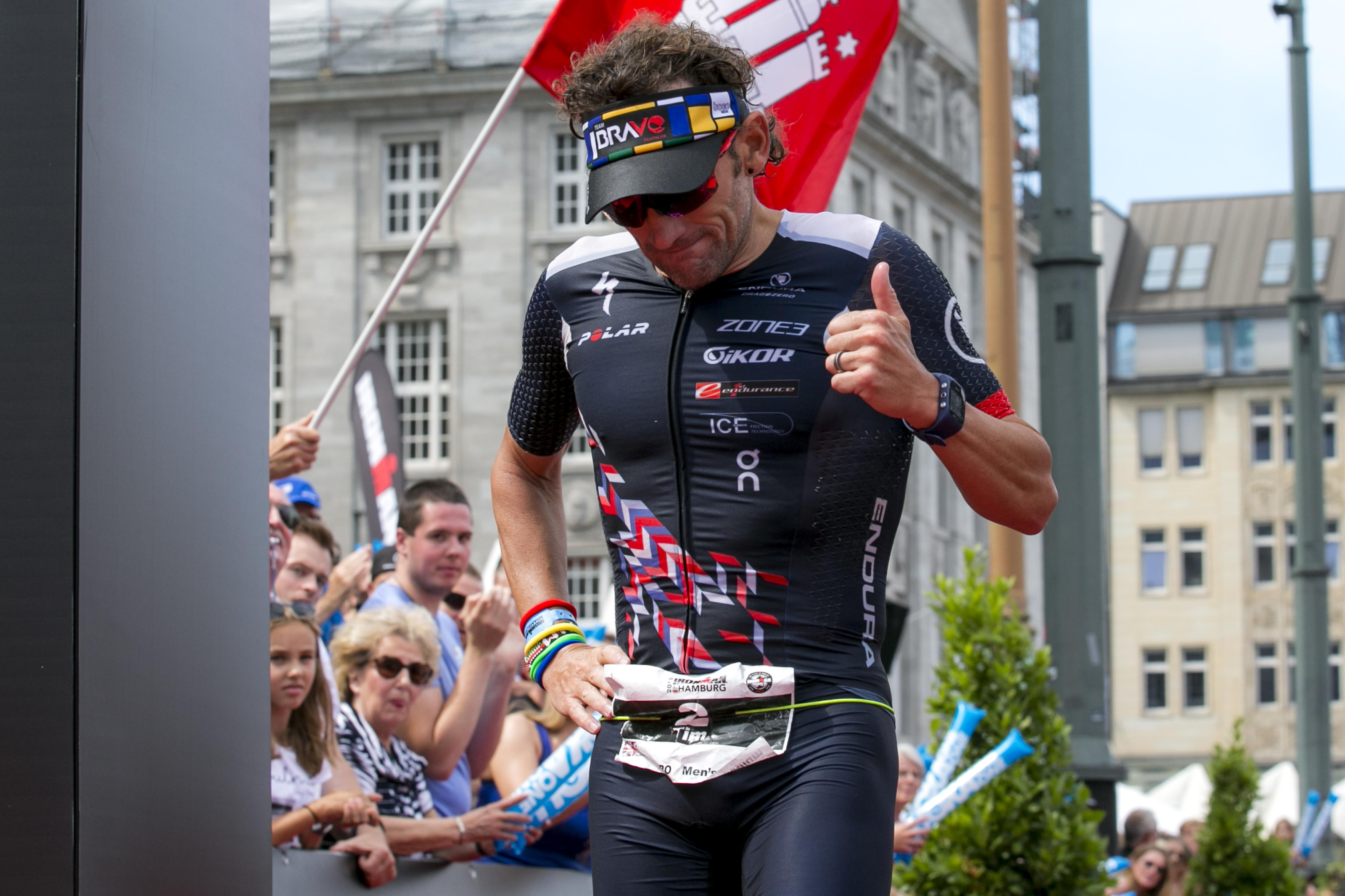 Don, pictured finishing an Ironman in Germany in July, is back for Saturday's Ironman Triathlon World Championships
