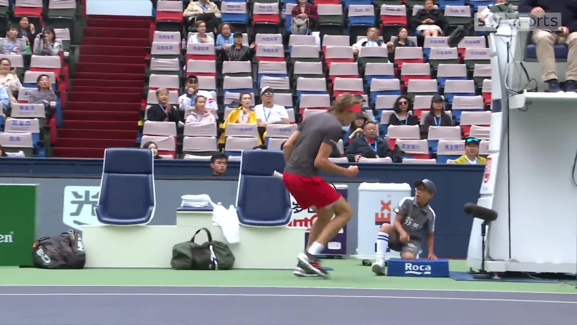 Alexander Zverev went on to win in straight sets, and it is a match the young ballboy won't forget for a while