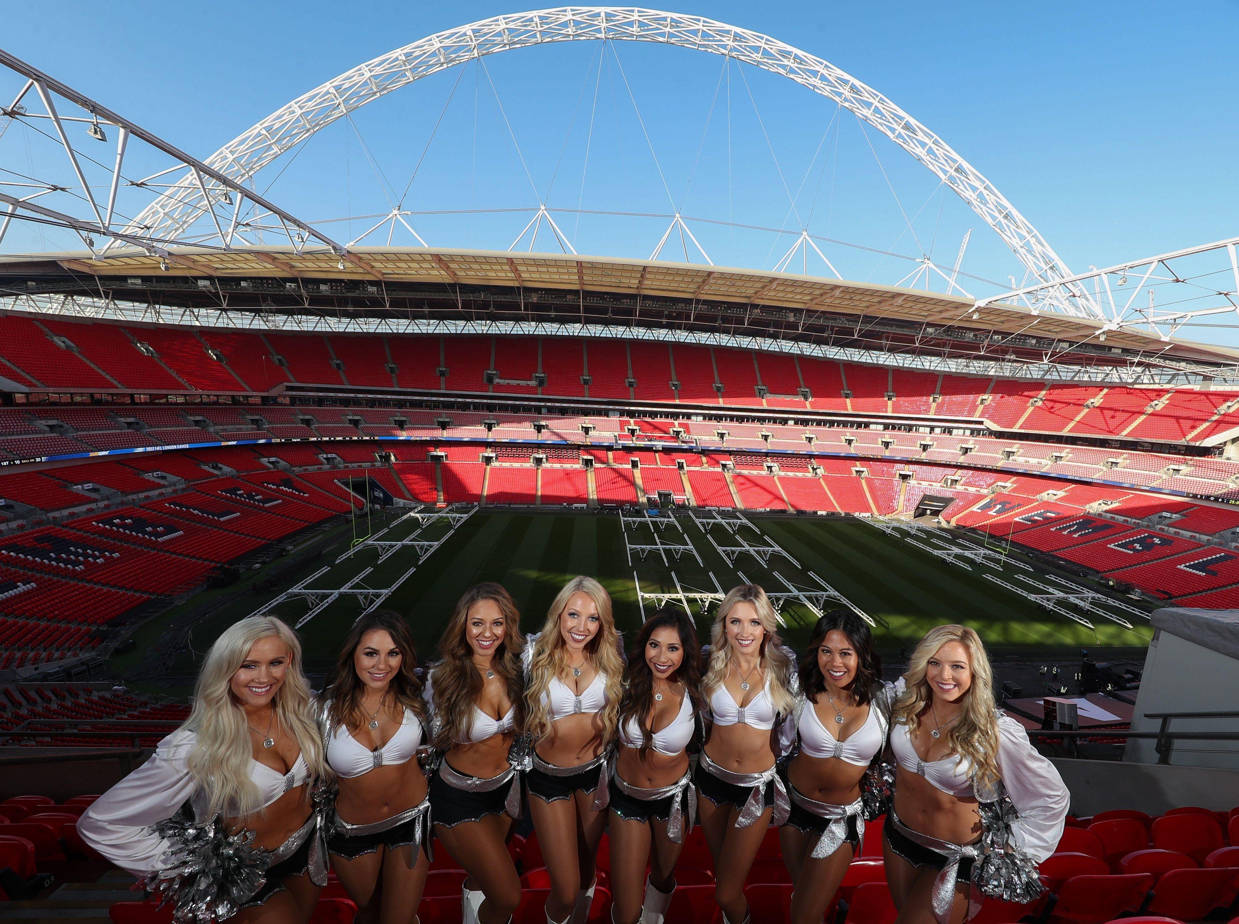 Oakland Raiders cheerleaders head to Wembley ahead of their team's clash against the Seattle Seahawks