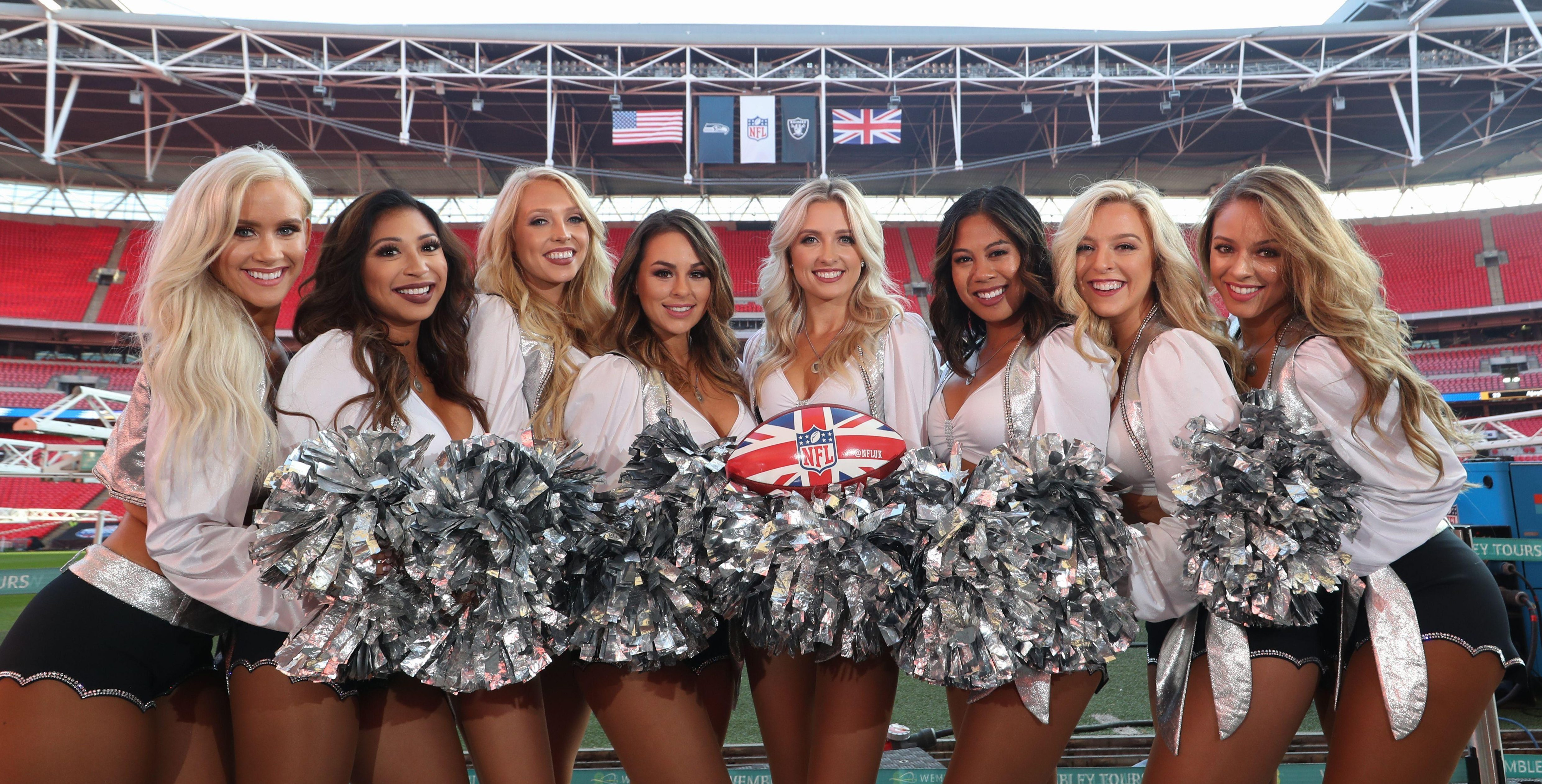 The Oakland Raiders cheerleaders have taken time out from their day jobs to jet to London