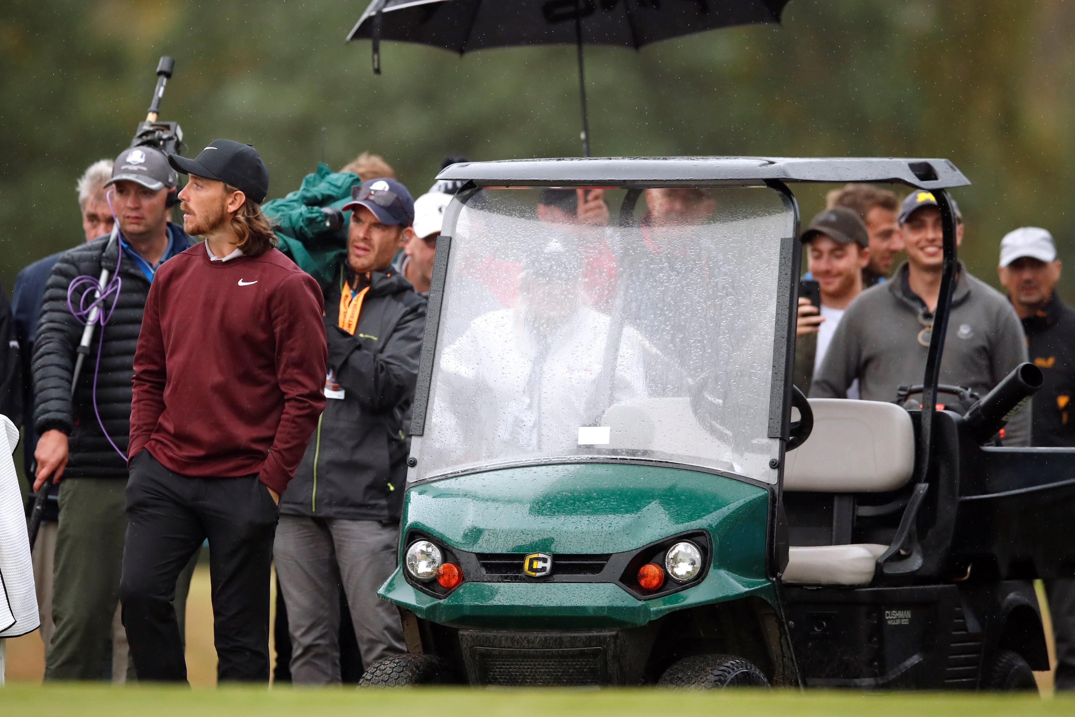 Fleetwood waits for a ruling after hitting into the cart
