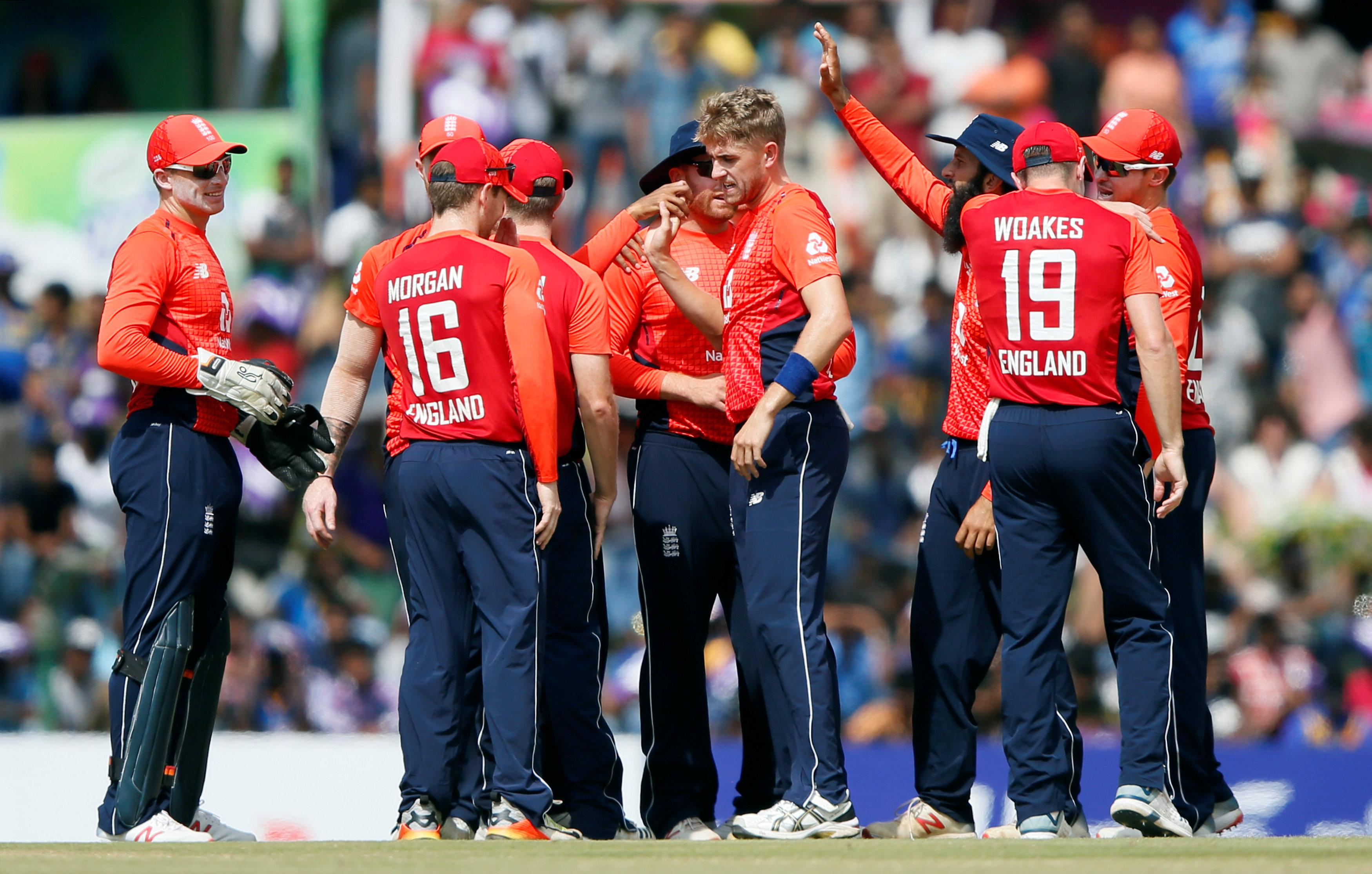 Olly Stone reacts with his team-mates after dismissing Niroshan Dickwella