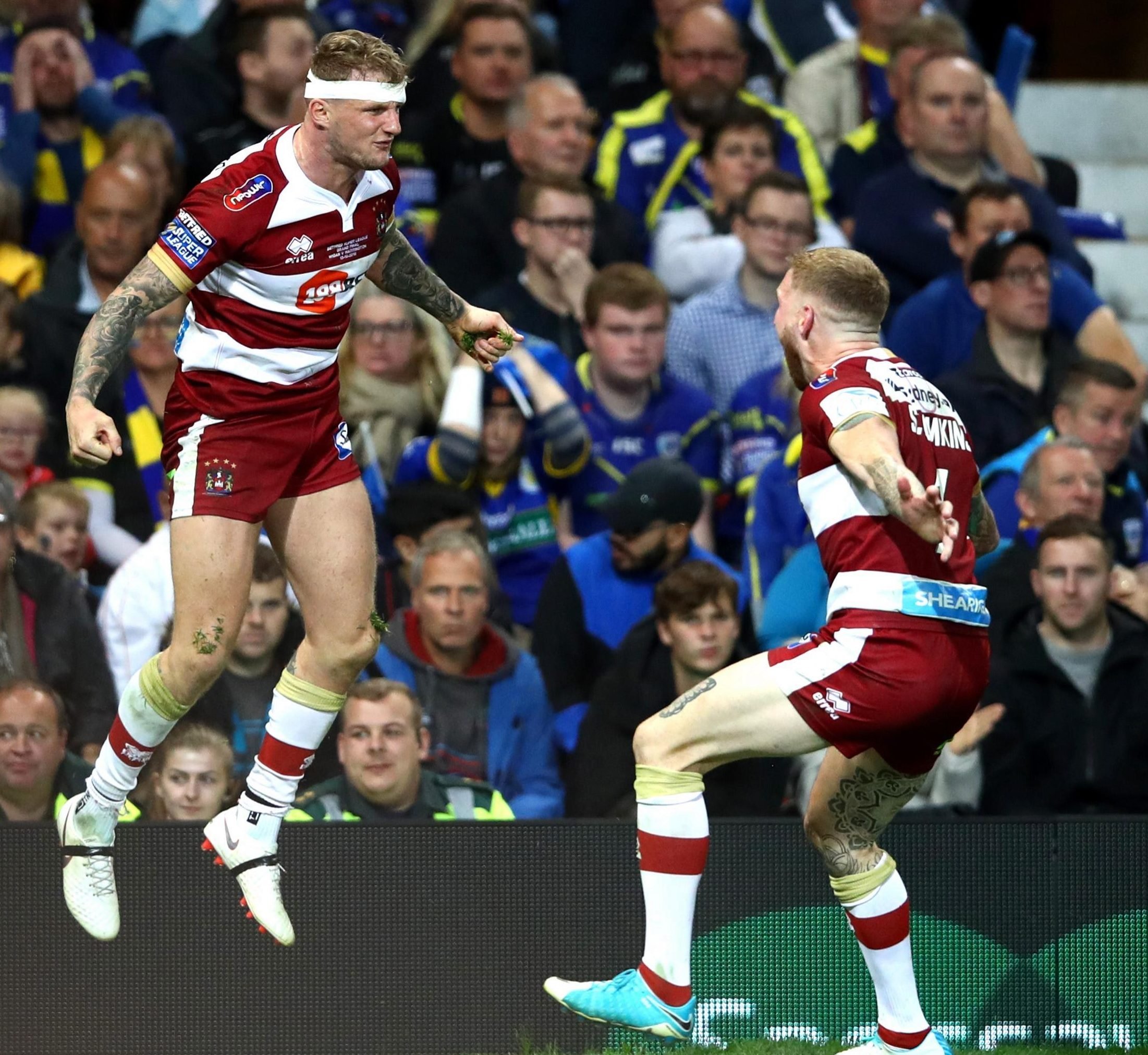 Two-try Dom Manfredi shares victory joy with Wigan team-mate Sam Tomkins