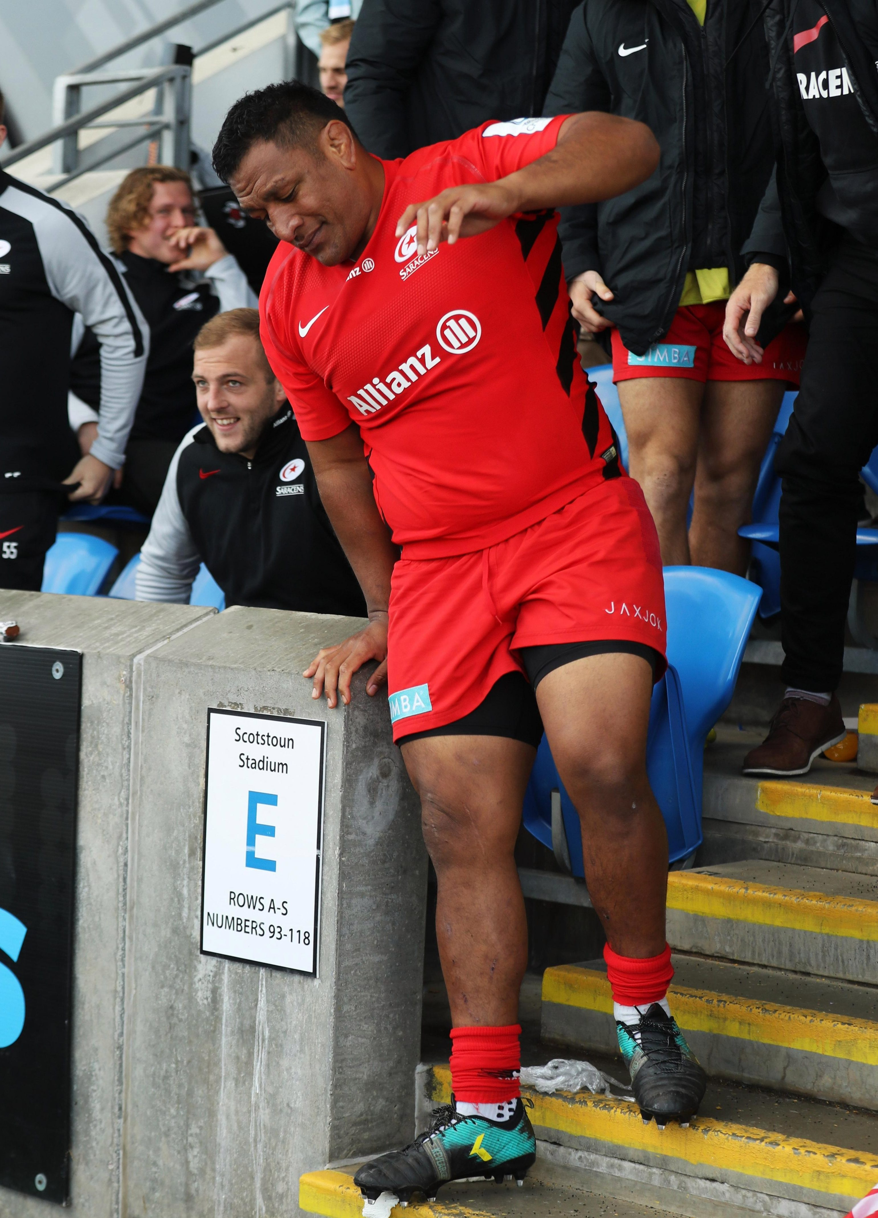 Mako Vunipola takes his place in the stands, another possible blow for England