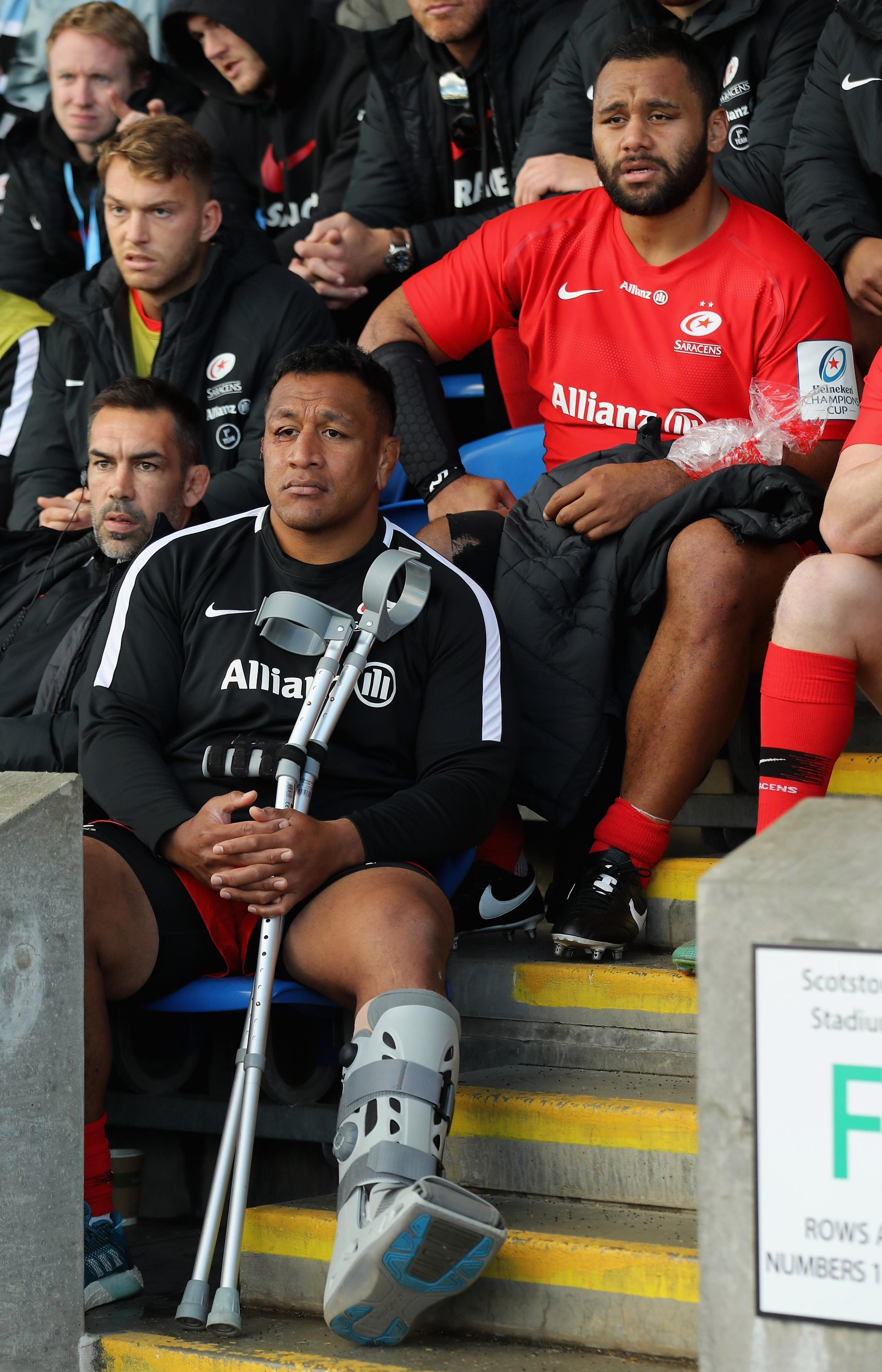 Billy Vunipola, right, and brother Mako reflect on their injuries in a brutal win