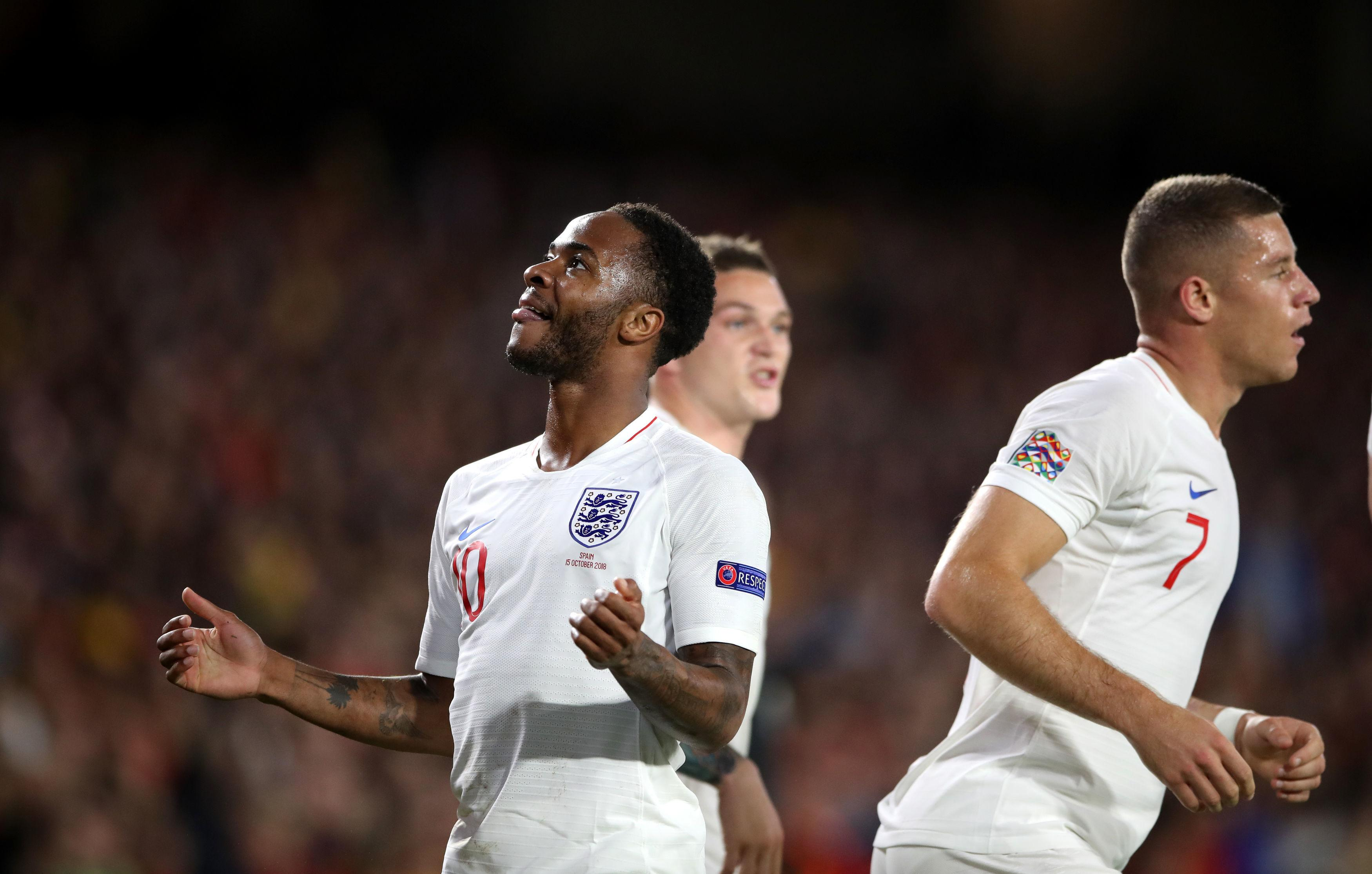 Raheem Sterling celebrates after ending his three-year England drought