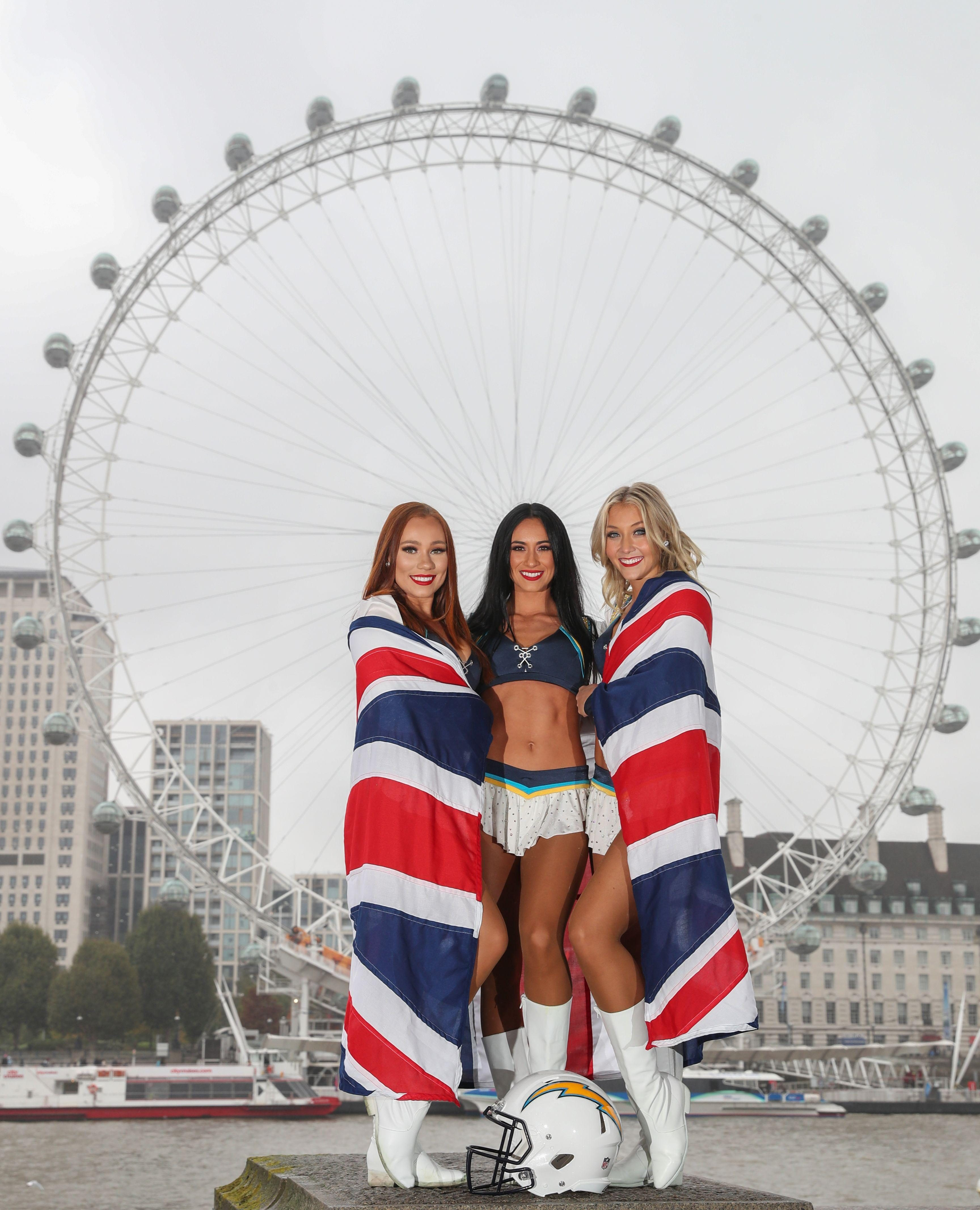 The Los Angeles Chargers cheerleaders brightened up a drizzly London today