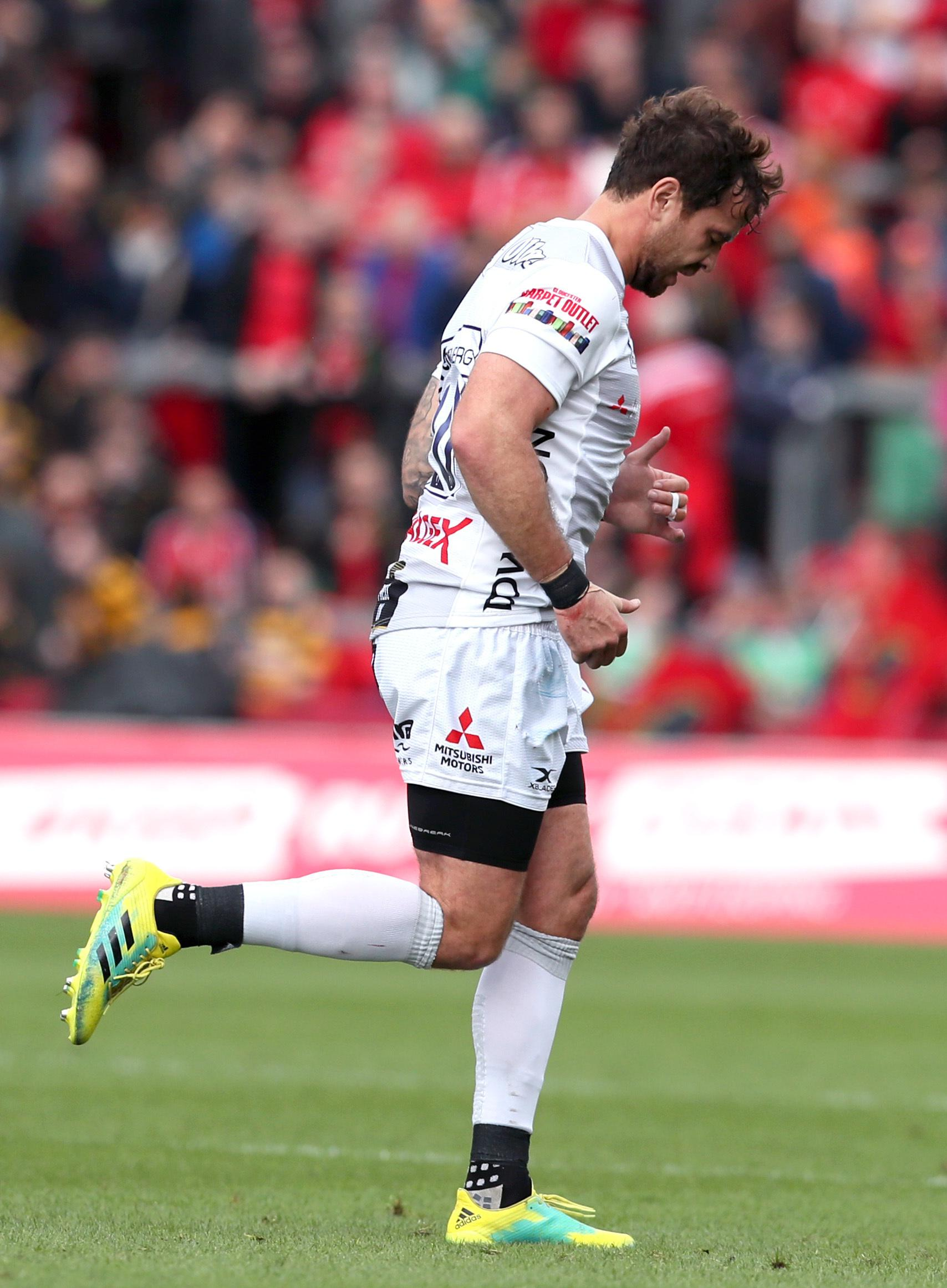 Danny Cipriani slumps off after getting his marching orders at the end of a tough week