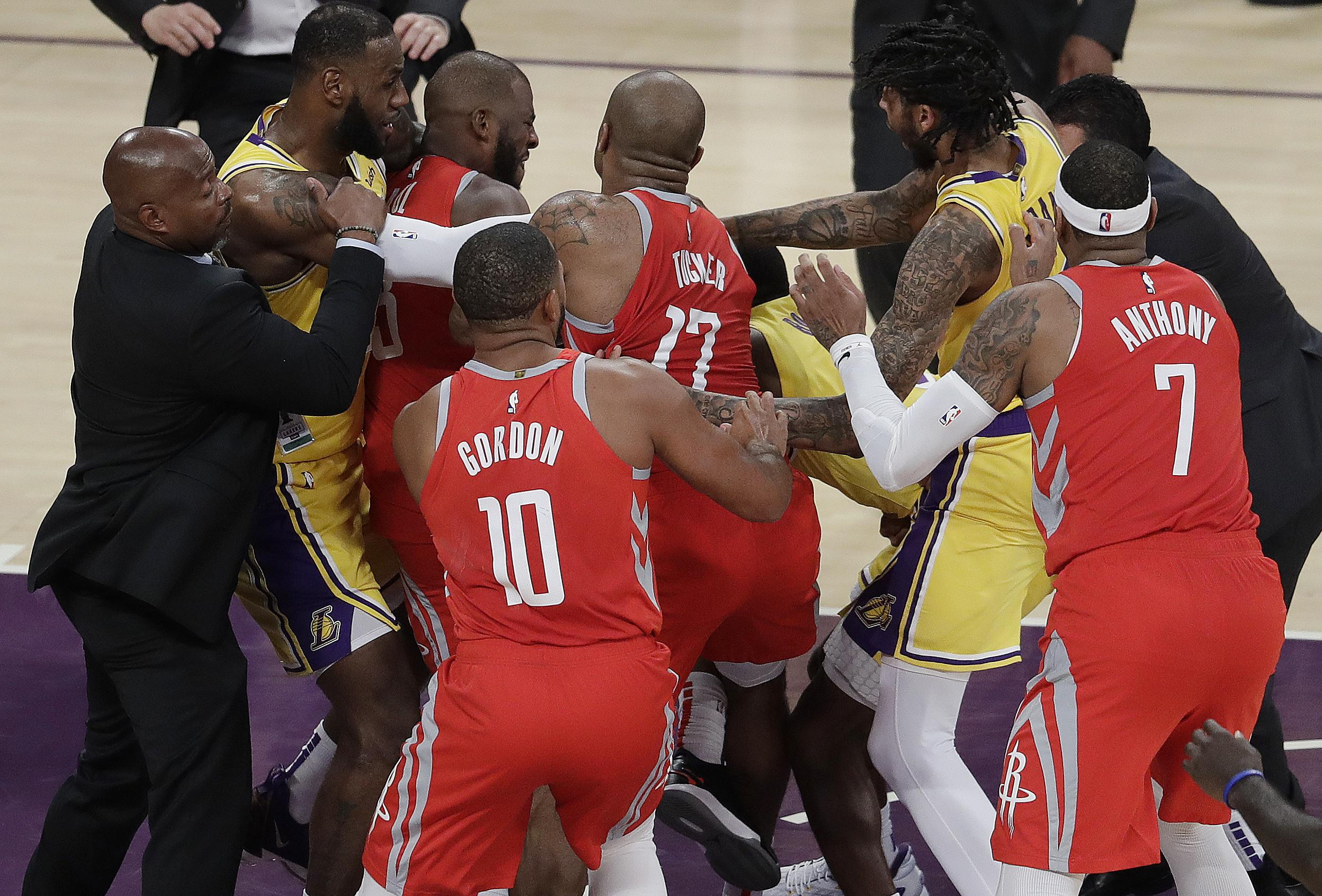 The chaos unfolded when Ingram fouled James Harden but it was long-term rivals Paul and Rondo that went at each other most