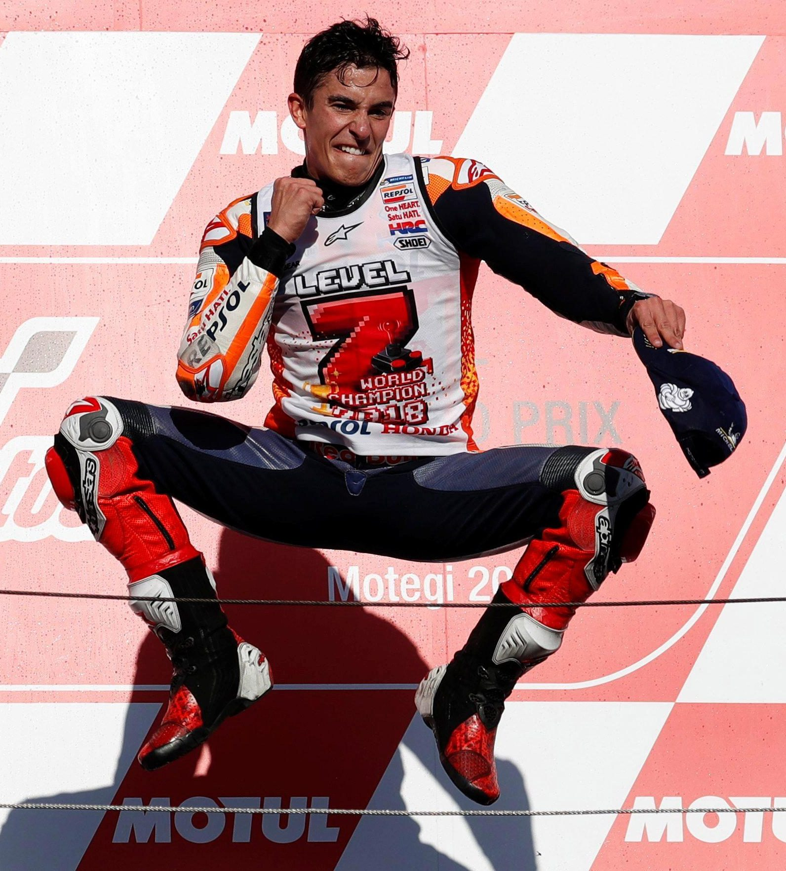 Marc Marquez celebrated his fifth world title after victory in Japan
