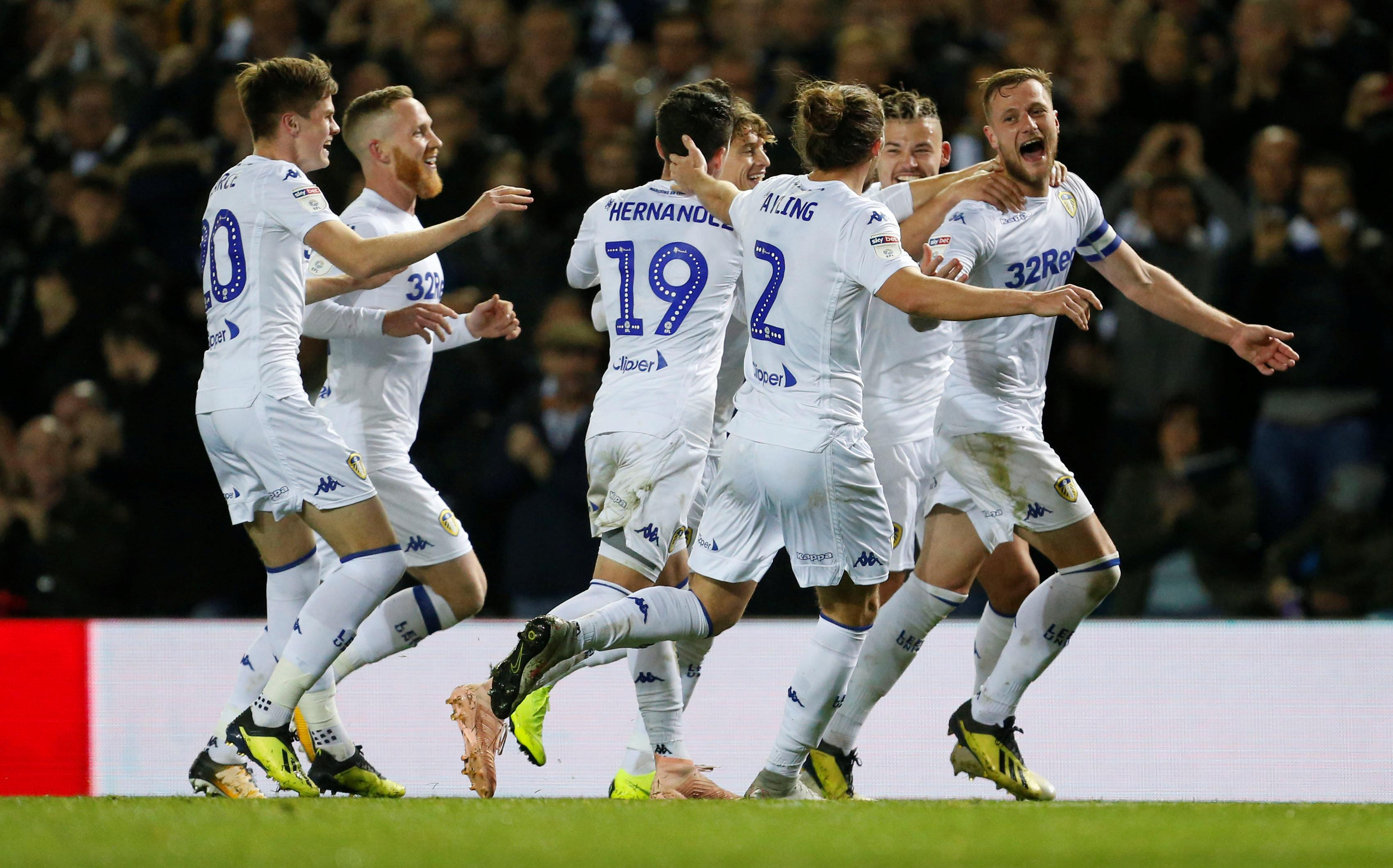 Leeds United's Liam Cooper celebrates scoring their second goal in a 2-0 win against Ipswich