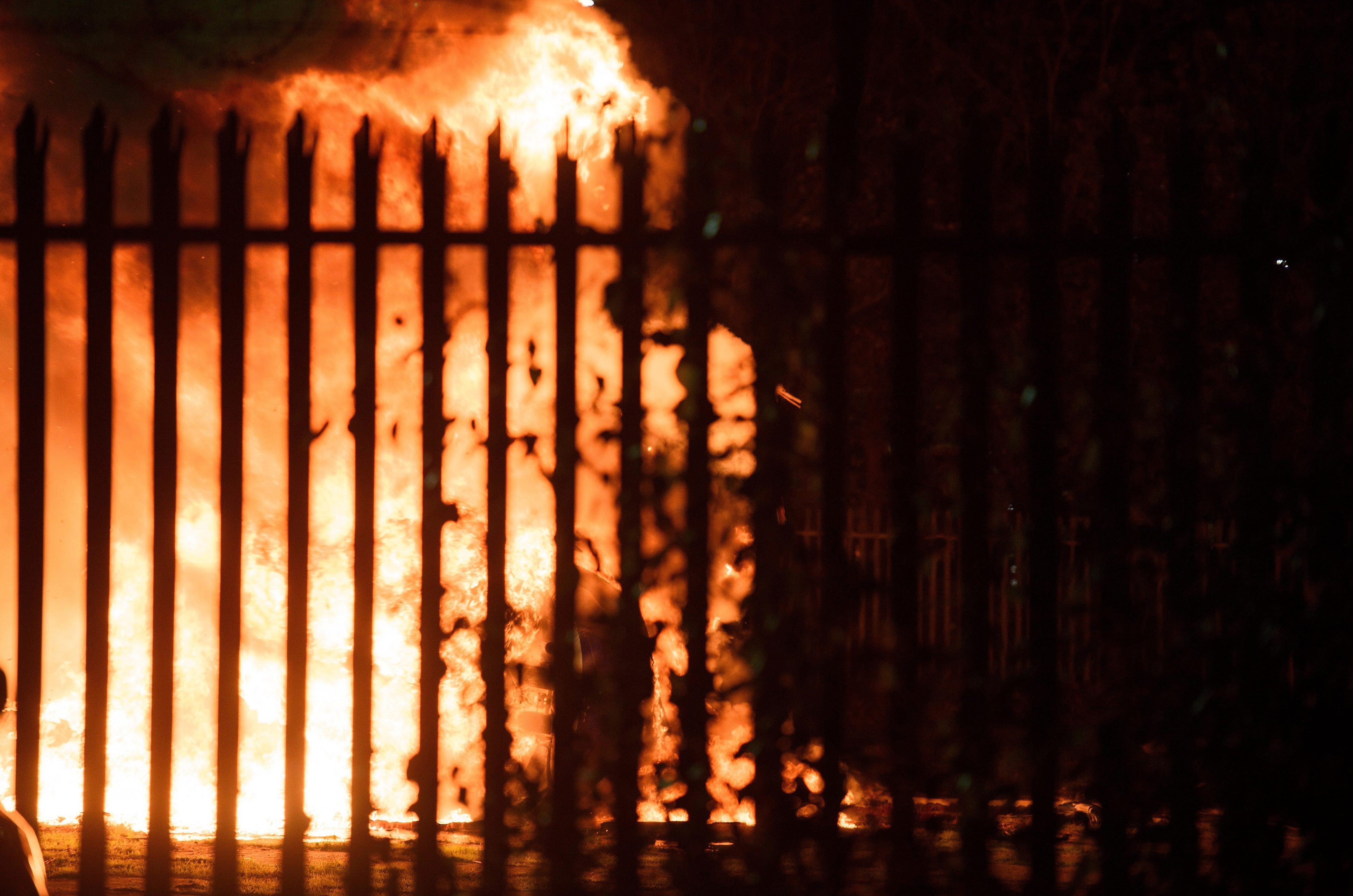 It was engulfed in flames within seconds of leaving the stadium pitch