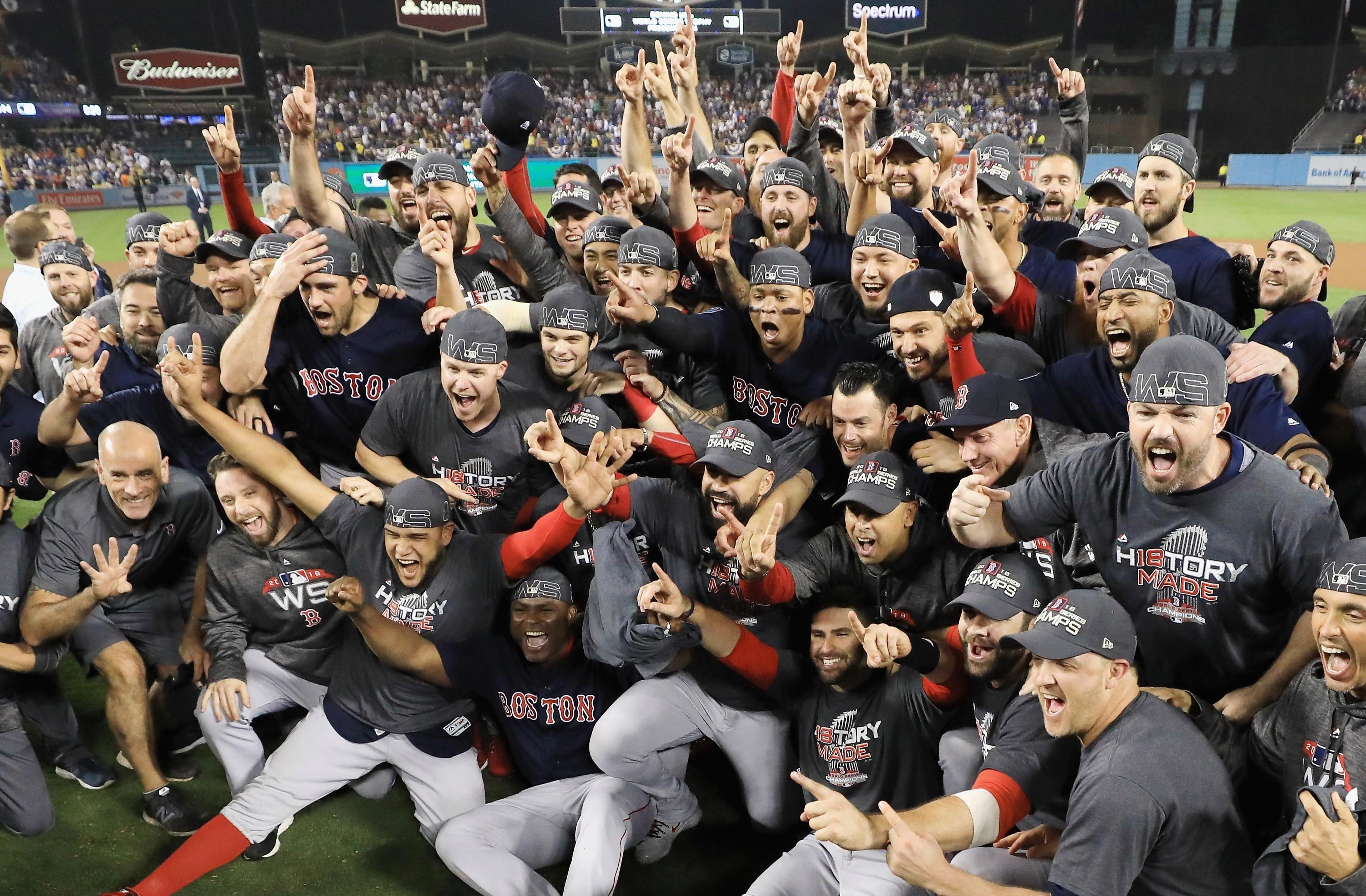 There were scenes of jubilation this evening after the Boston Red Sox clinched the World Series