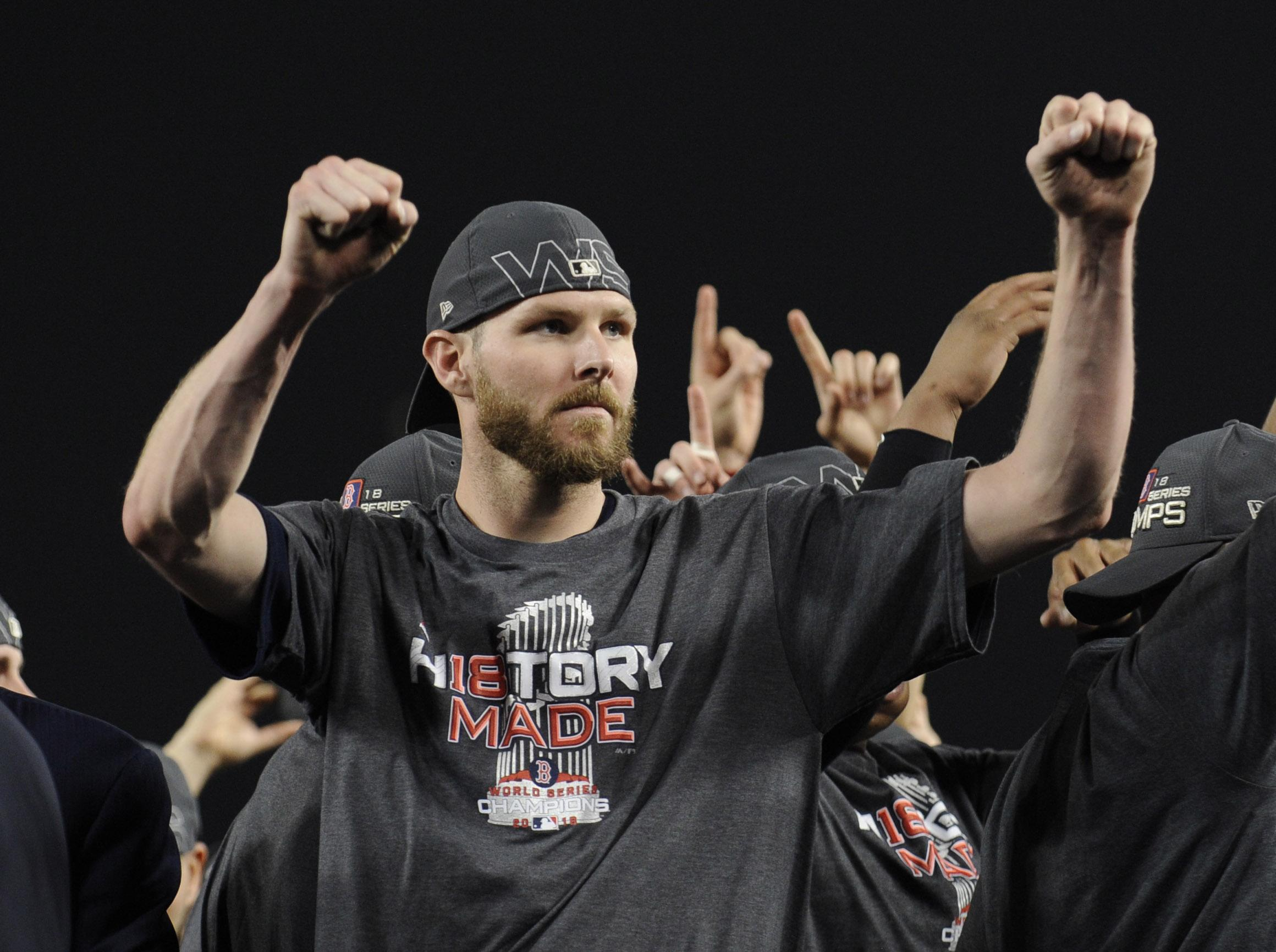 Boston Red Sox pitcher Chris Sale celebrates after defeating the Los Angeles Dodgers