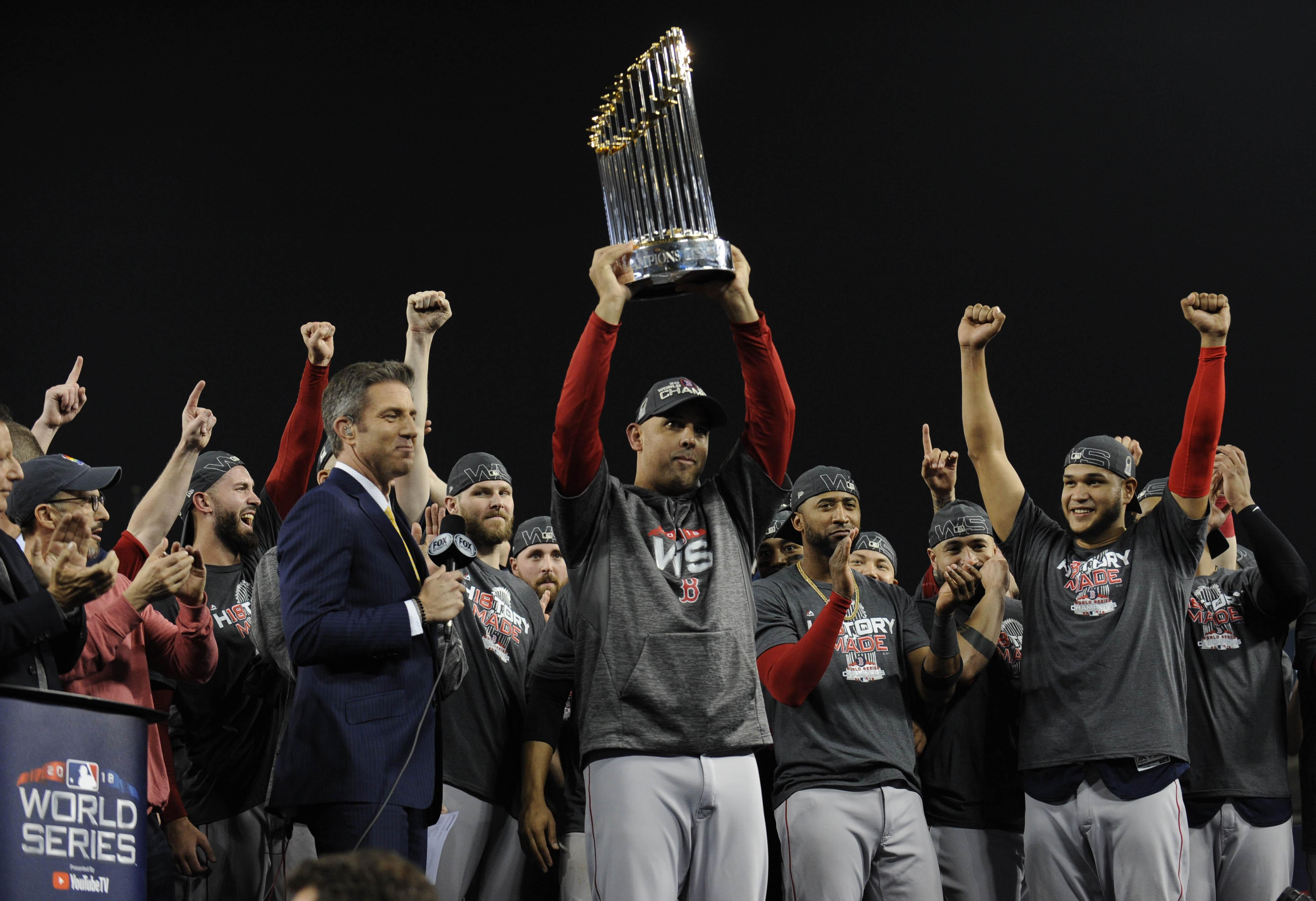 They defeated the Los Angeles Dodgers in game five of the 2018 World Series at Dodger Stadium