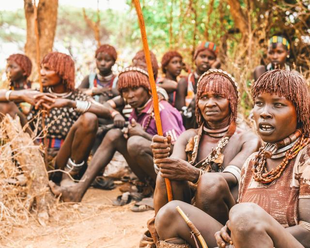 Hamar women with their distinctive dreadlock-style hair