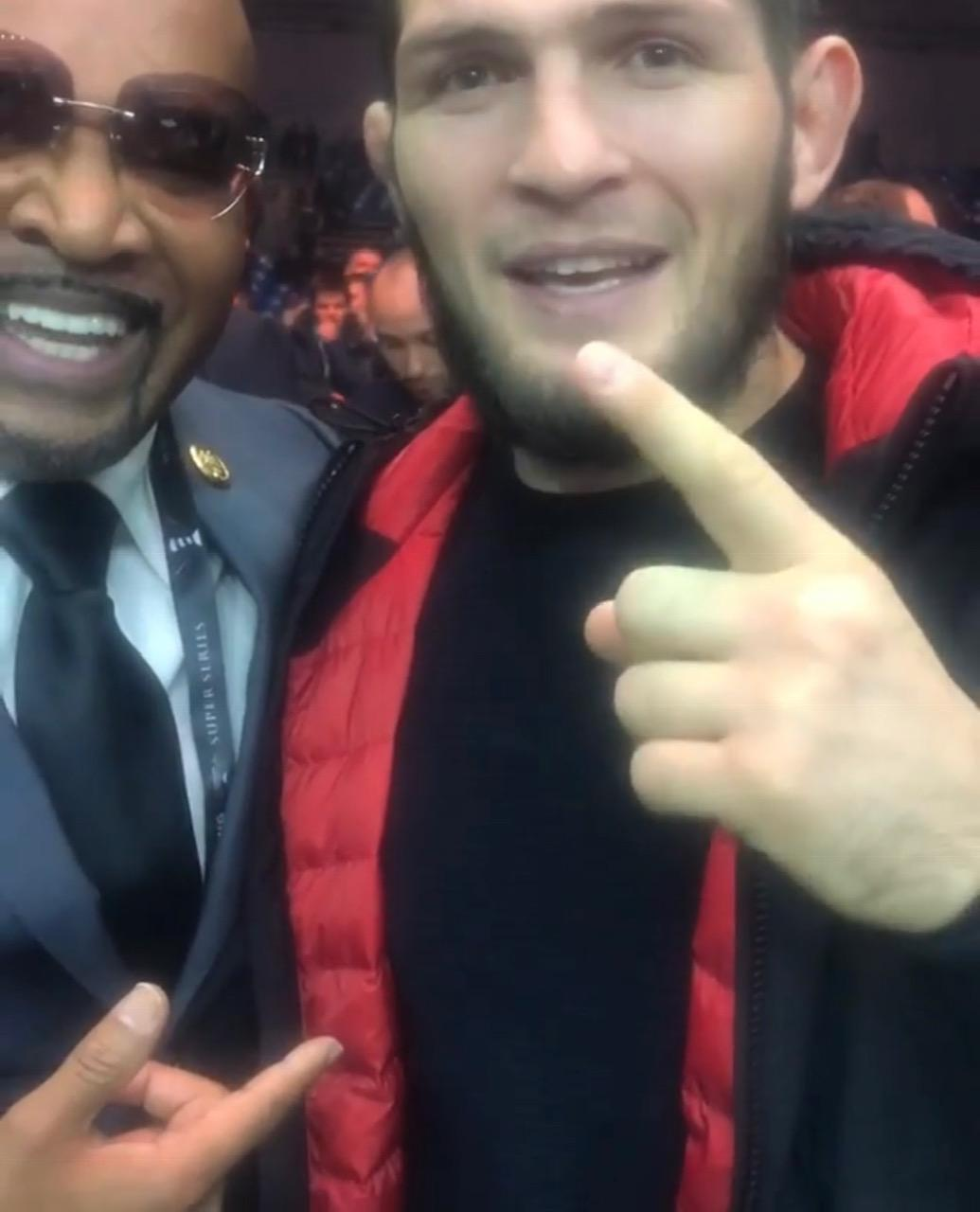 Khabib, 30, was speaking next to Leonard Ellerbe, the CEO of Mayweather Promotions