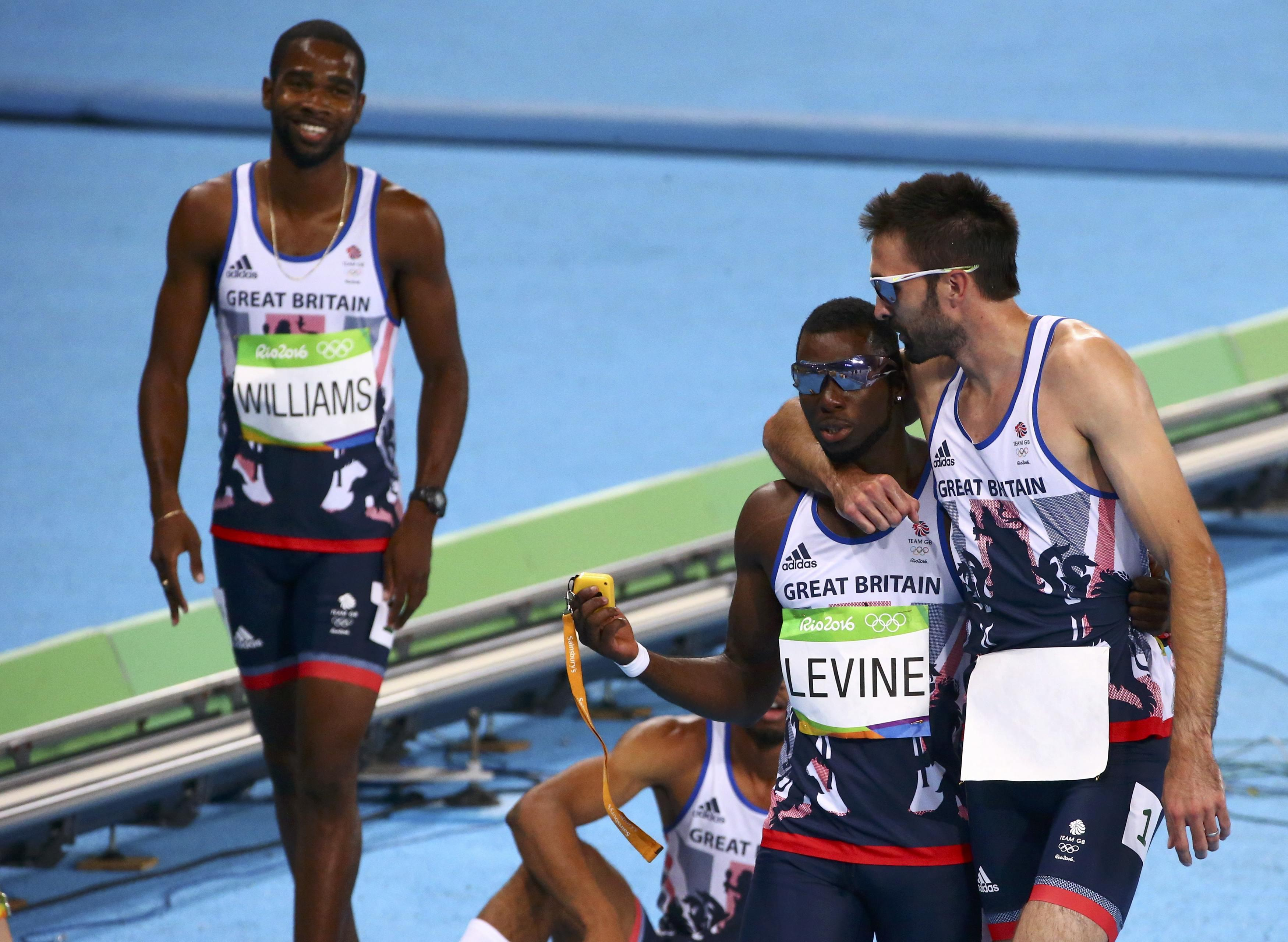 Levine pictured with his GB team-mates during the 2016 Olympics in Rio de Janiero